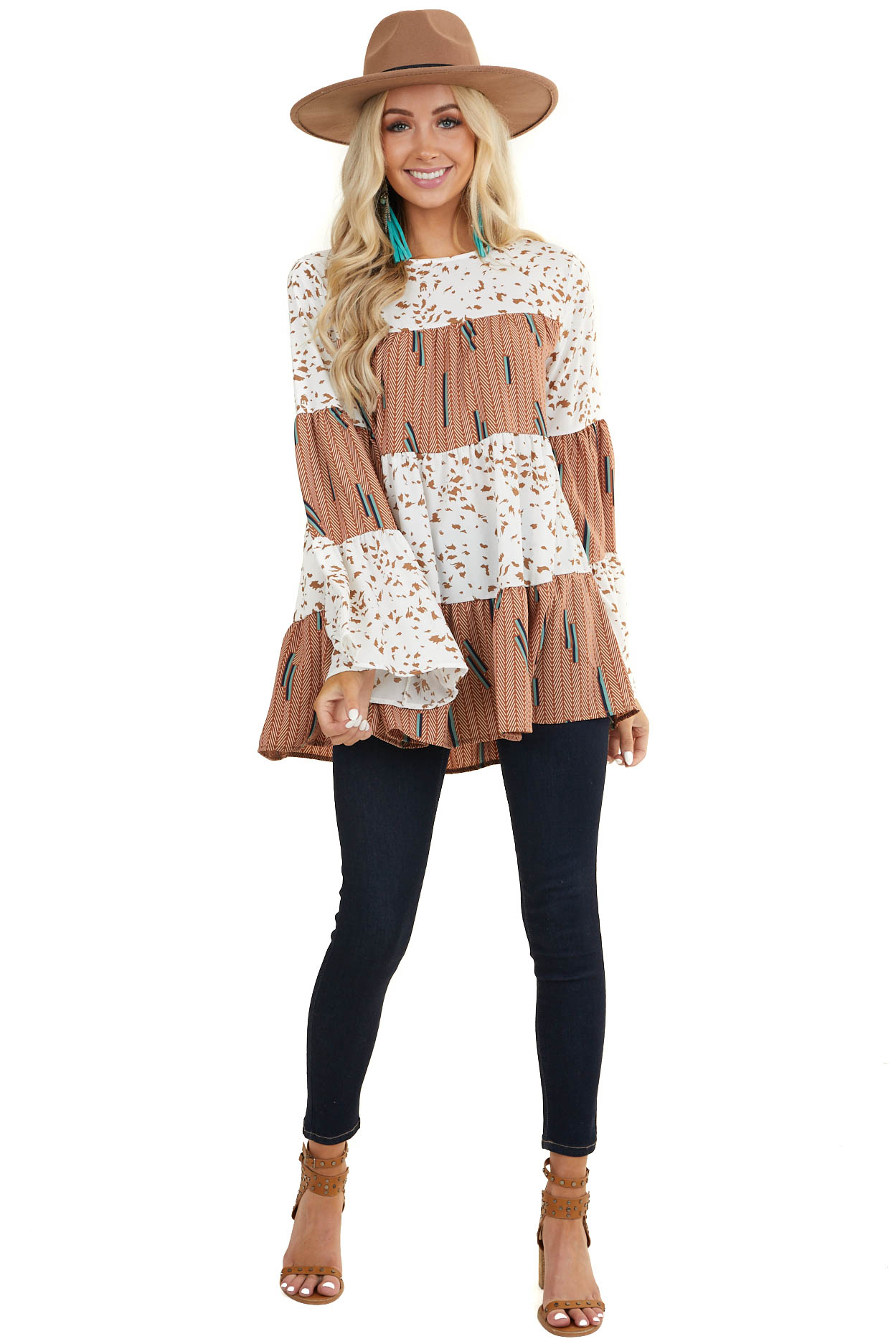 Sienna Multiprint Tiered Woven Top with Long Flared Sleeves