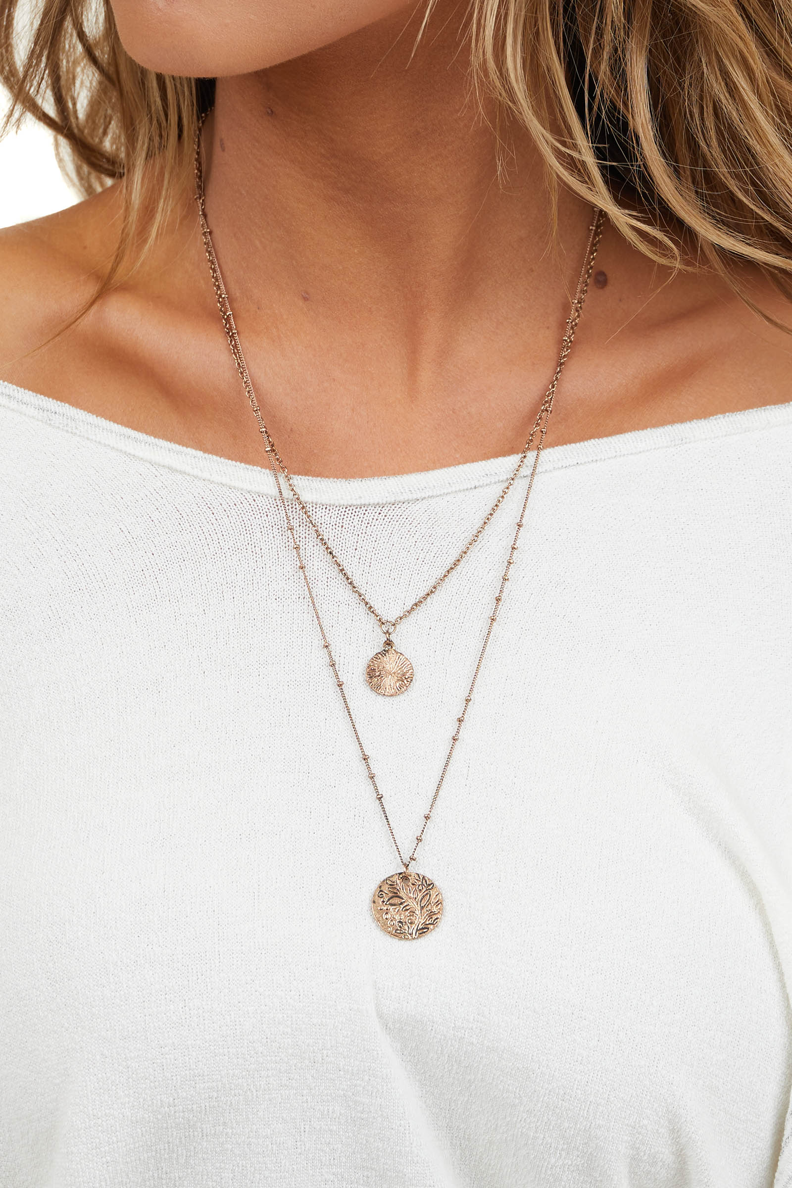 Antiqued Rose Gold Layered Necklace with Floral Circle Charm