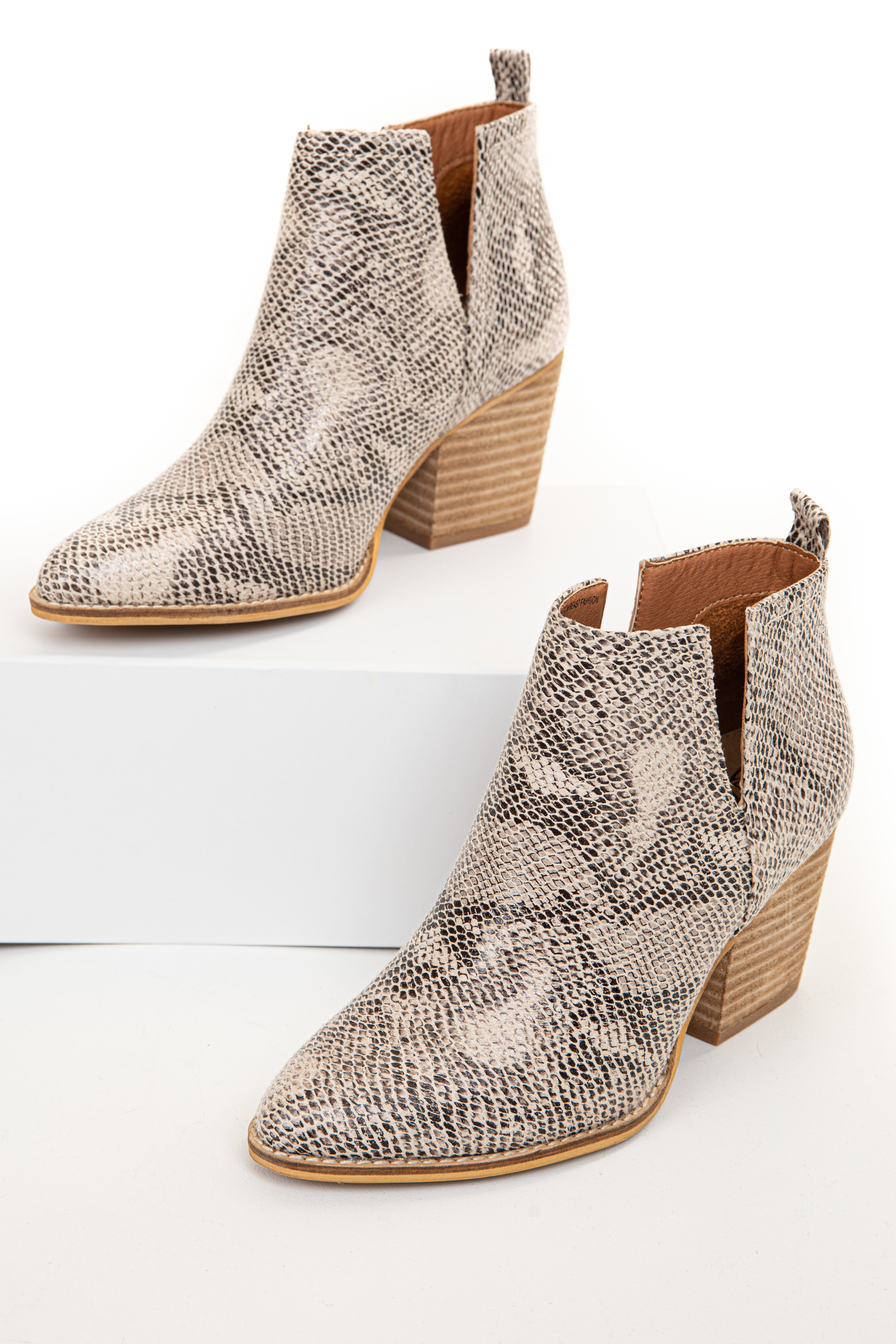 Ivory and Black Snake Print Bootie with Tan Stacked Heel