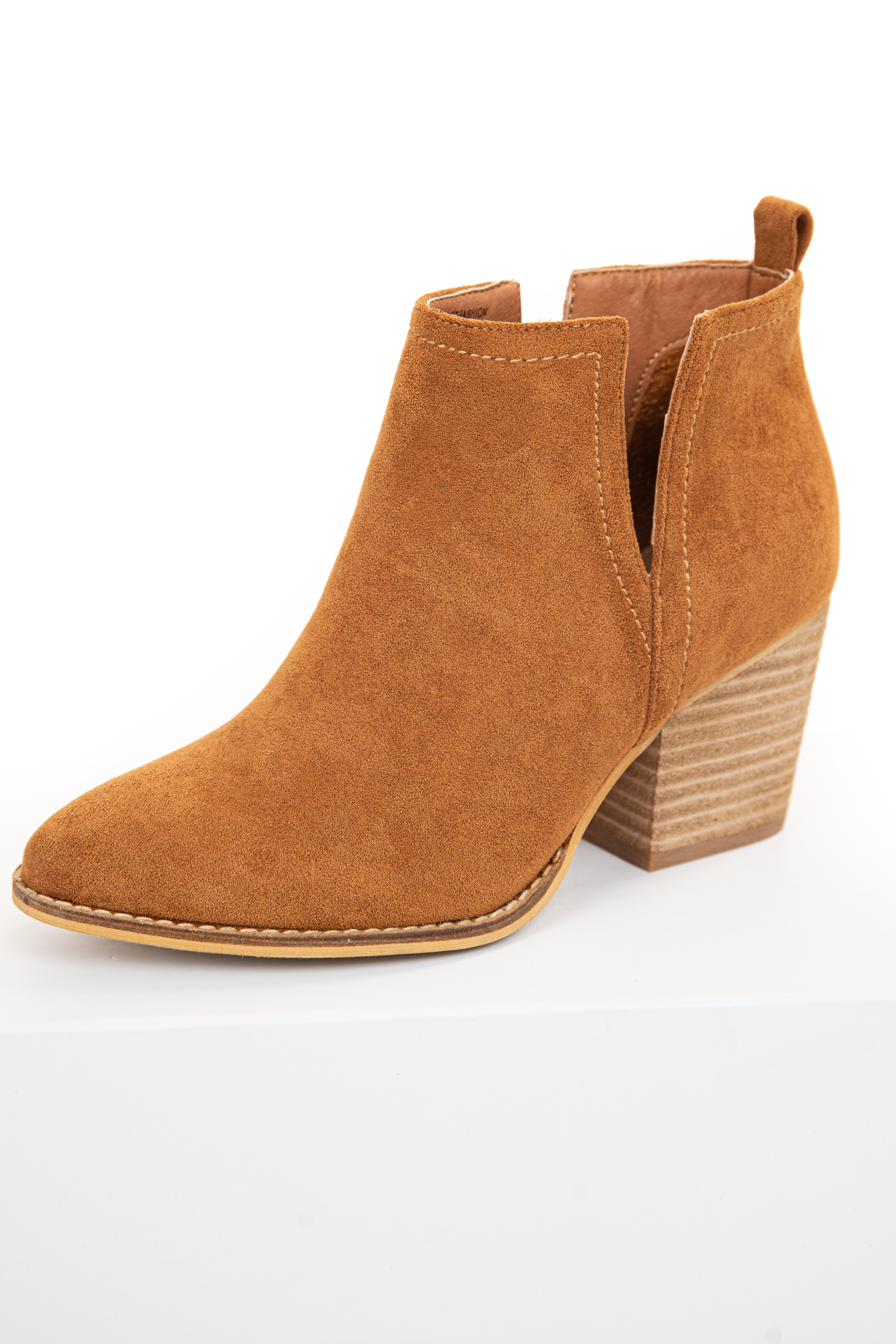 Caramel Faux Suede Bootie with Tan Stacked Heel