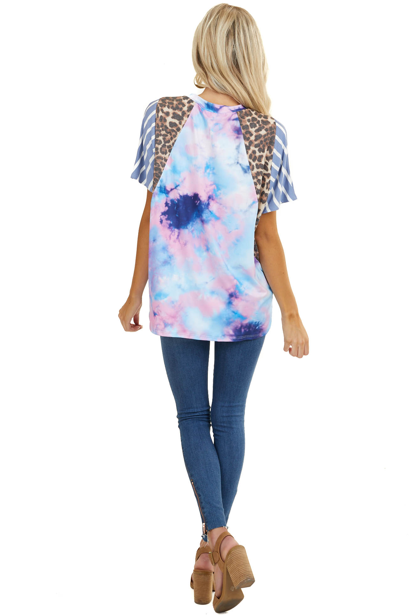 Multicolor Tie Dye Top with Leopard Print and Stripe Details