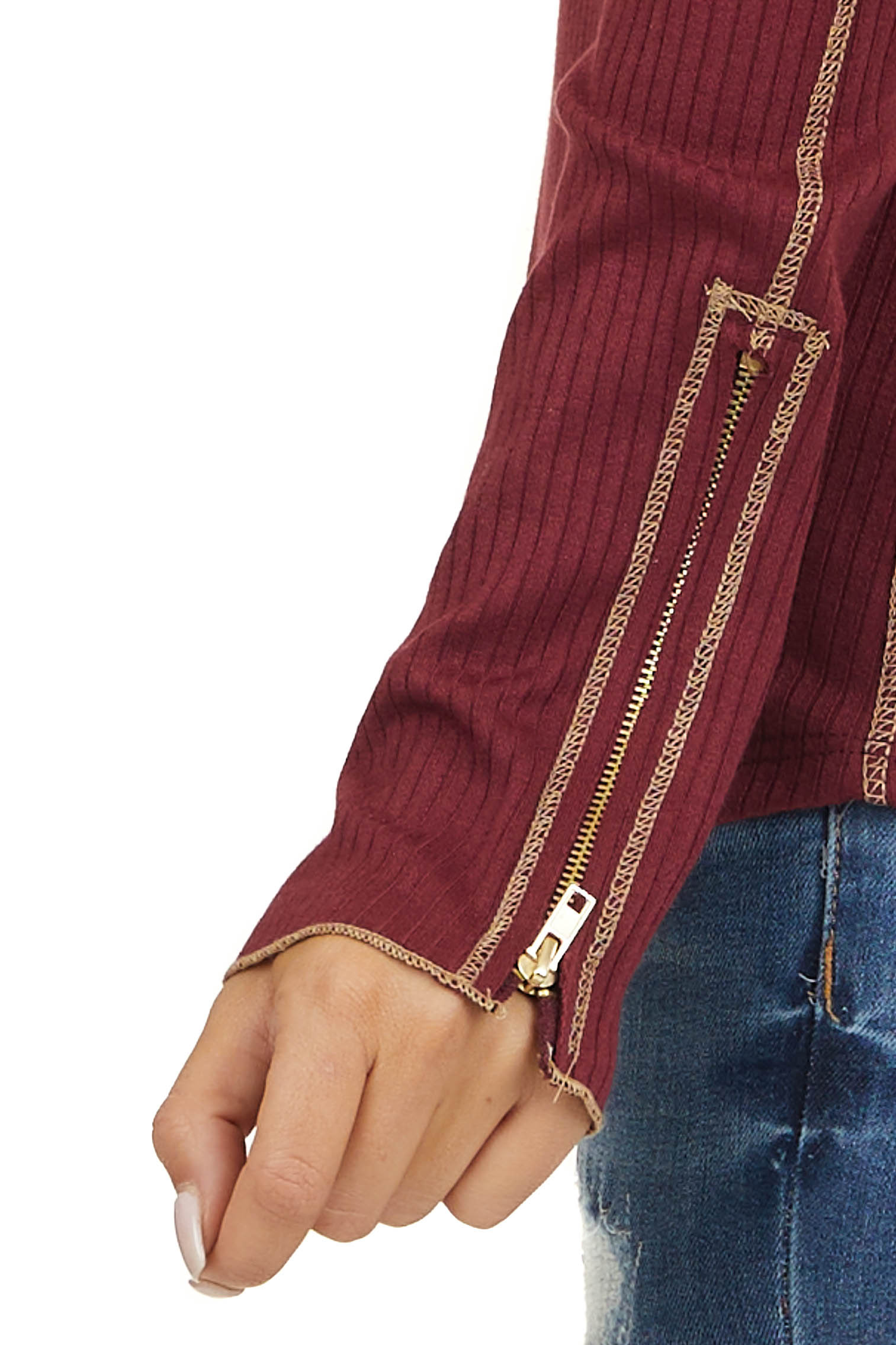 Wine Ribbed Knit Top with Long Sleeves and Zipper Detail