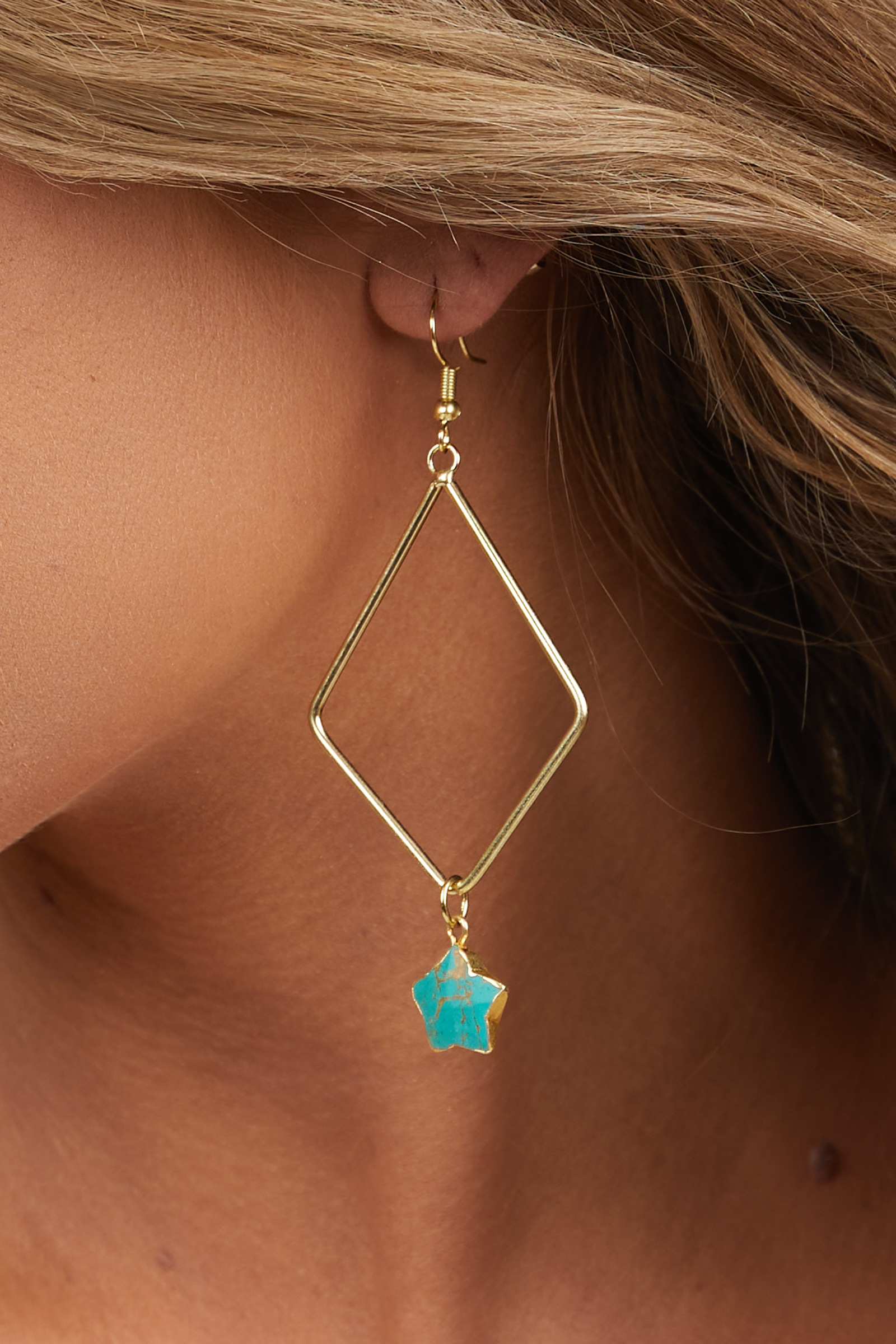 Gold Triangle Dangle Earrings with Turquoise Stars