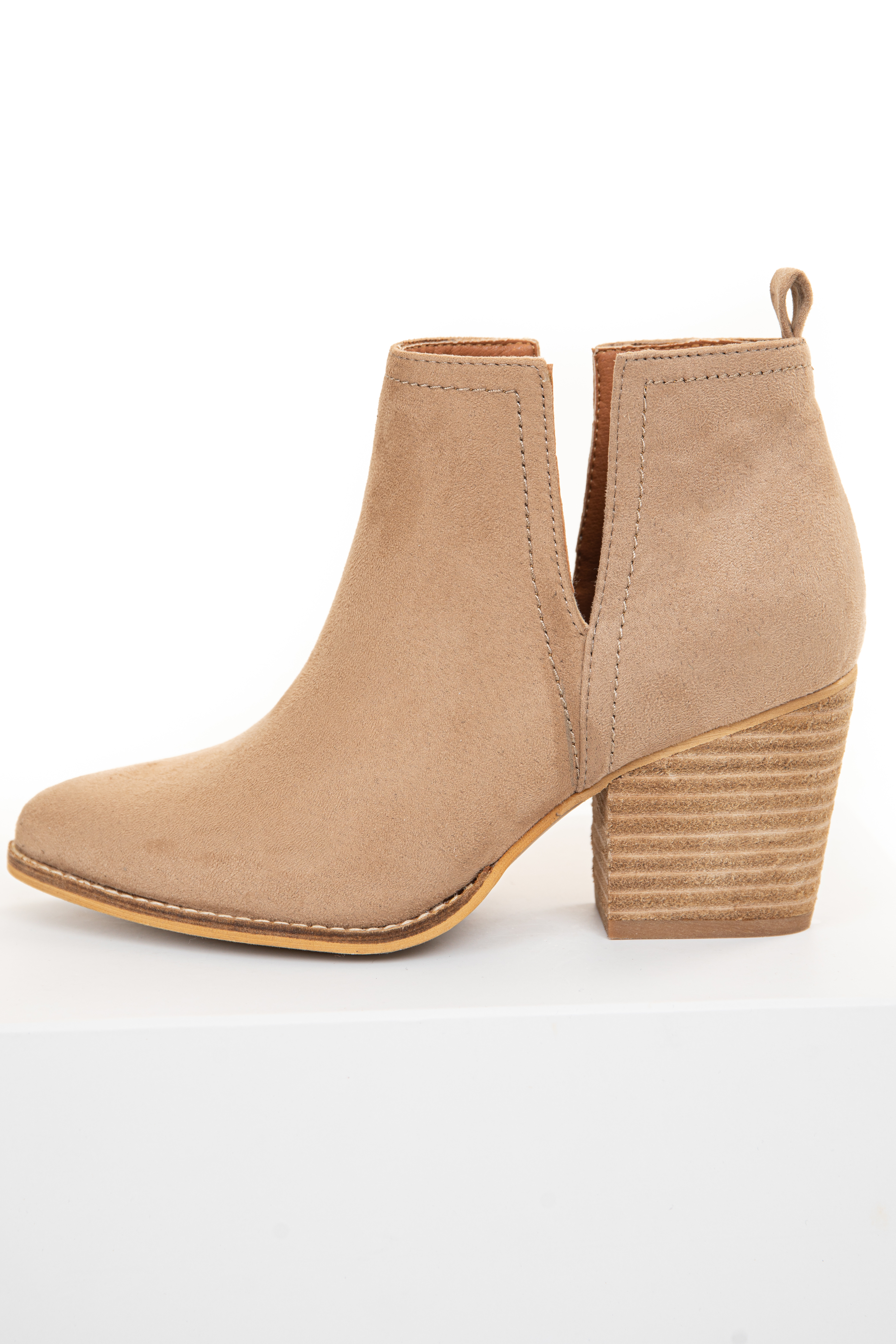 Beige Faux Suede Bootie with Tan Stacked Heel