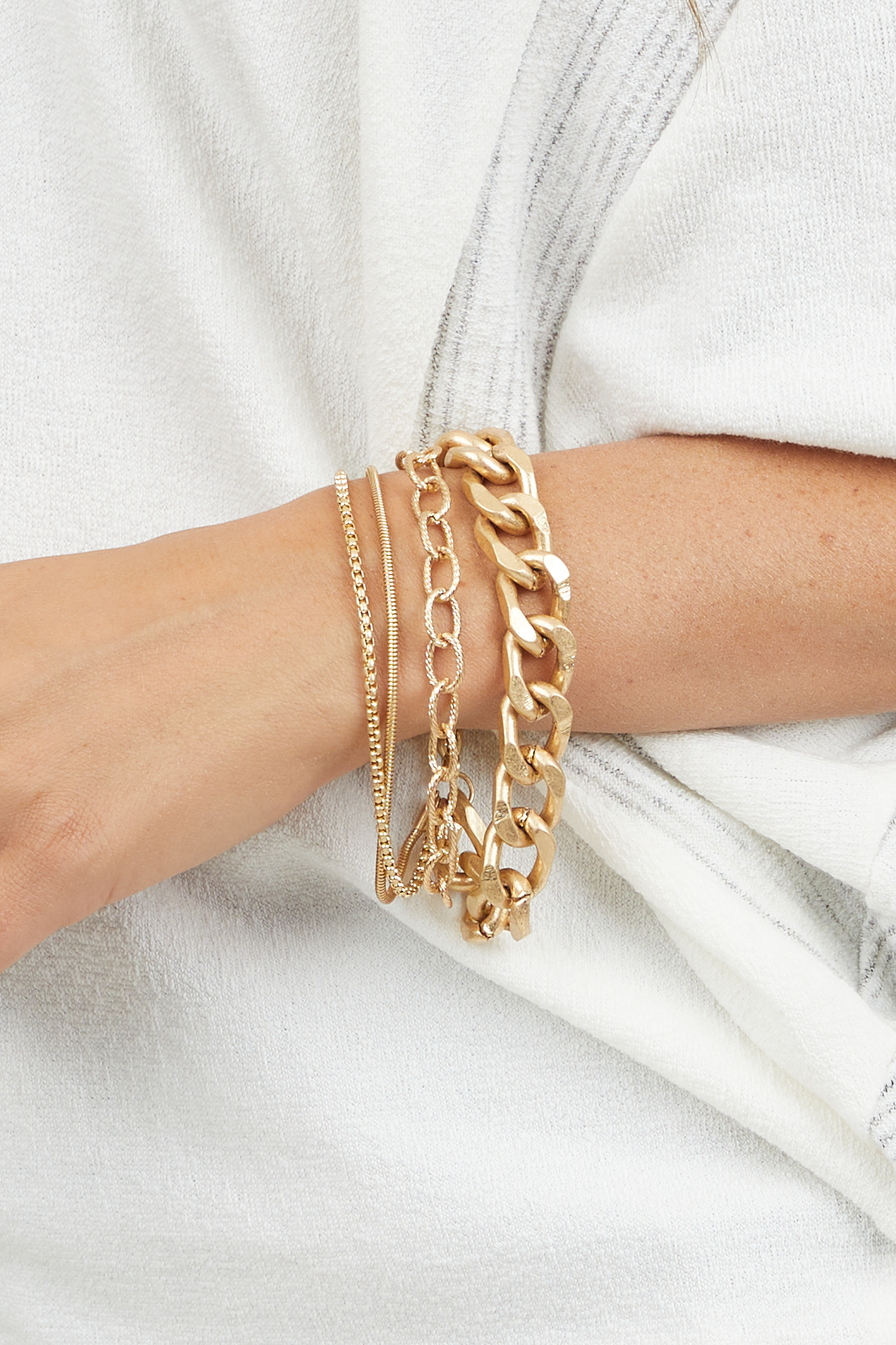 Gold Chain Layered Bracelet with Various Chain Styles