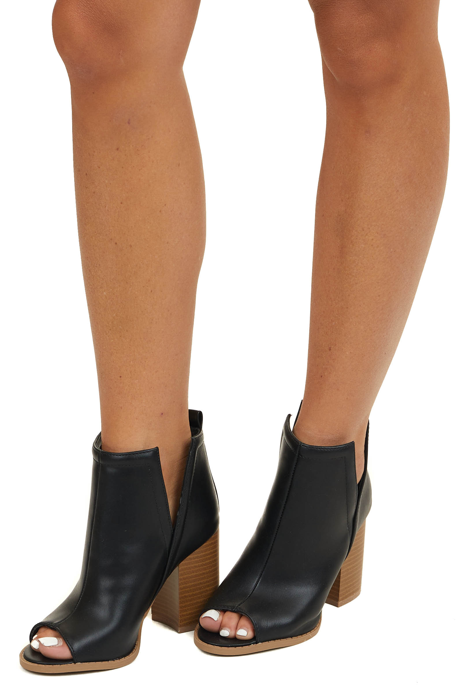 Black Faux Leather Open Toed Heels with Side Slits