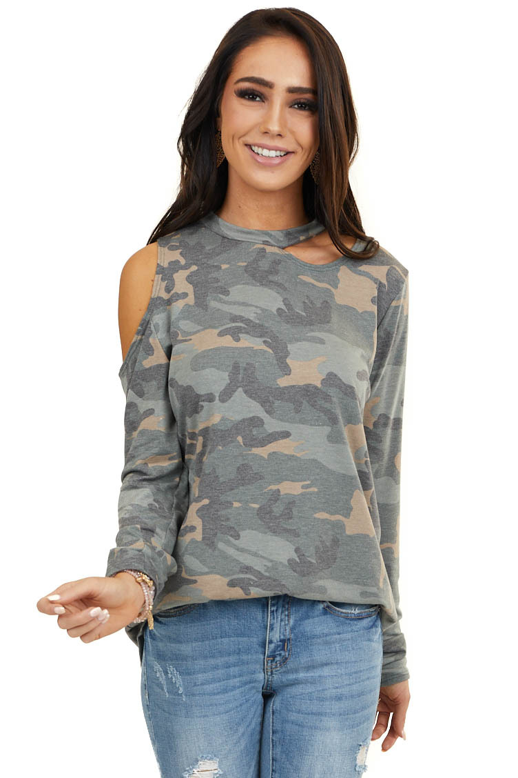 Hunter Green Camo Cold Shoulder Long Sleeve Knit Top