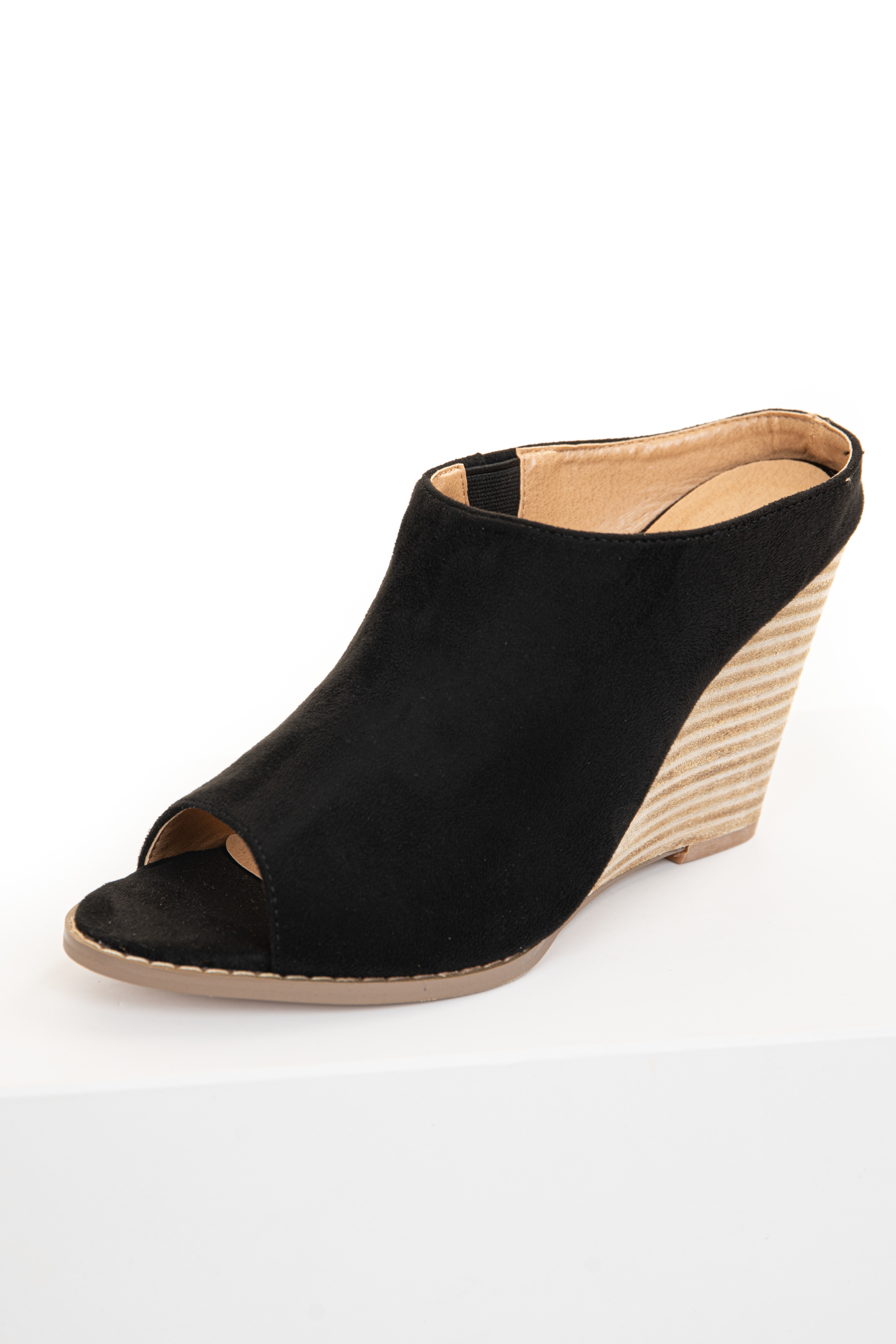 Black Faux Suede Wedge Bootie with Open Toe Detail