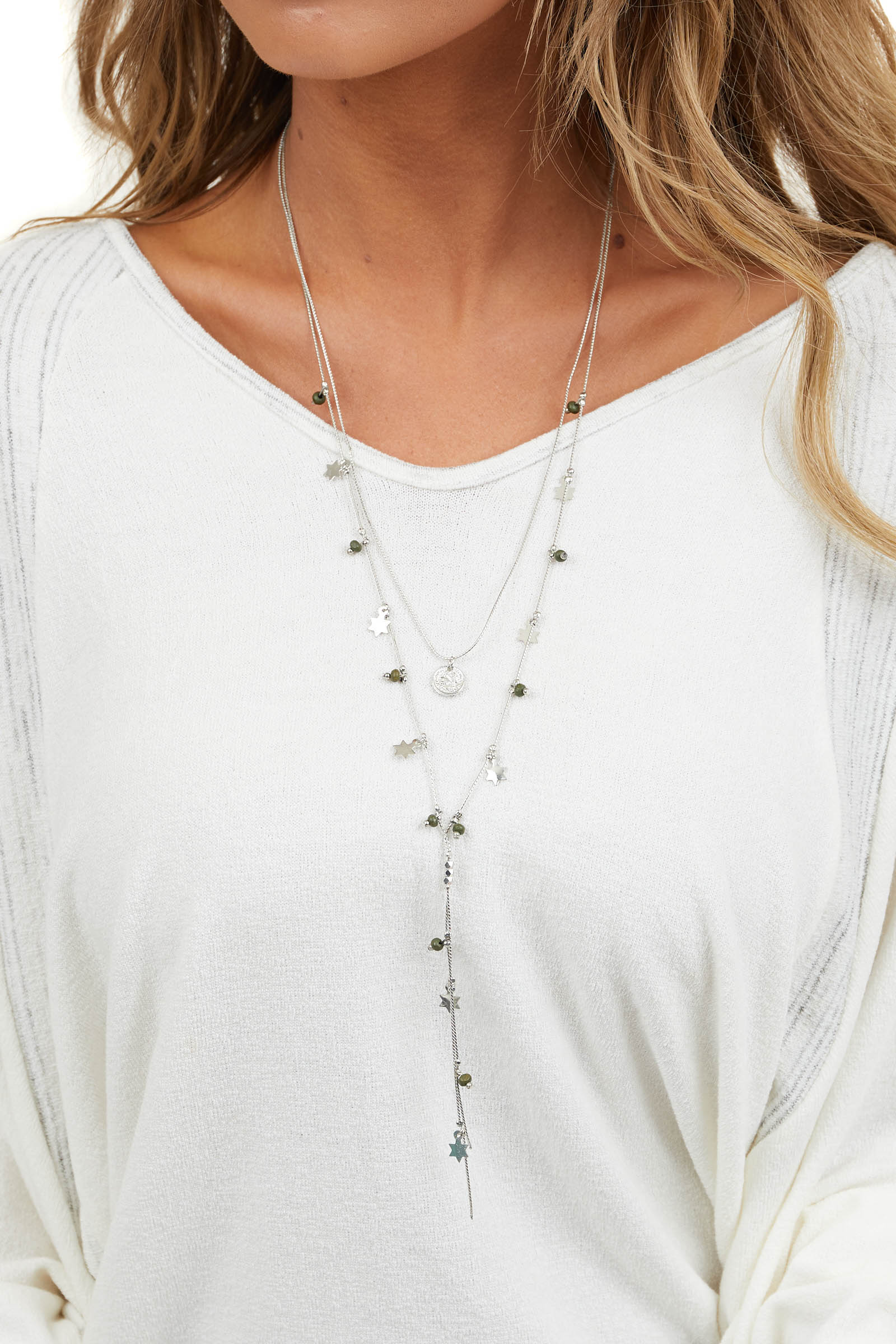 Silver Long Layered Necklace with Star Charm Details