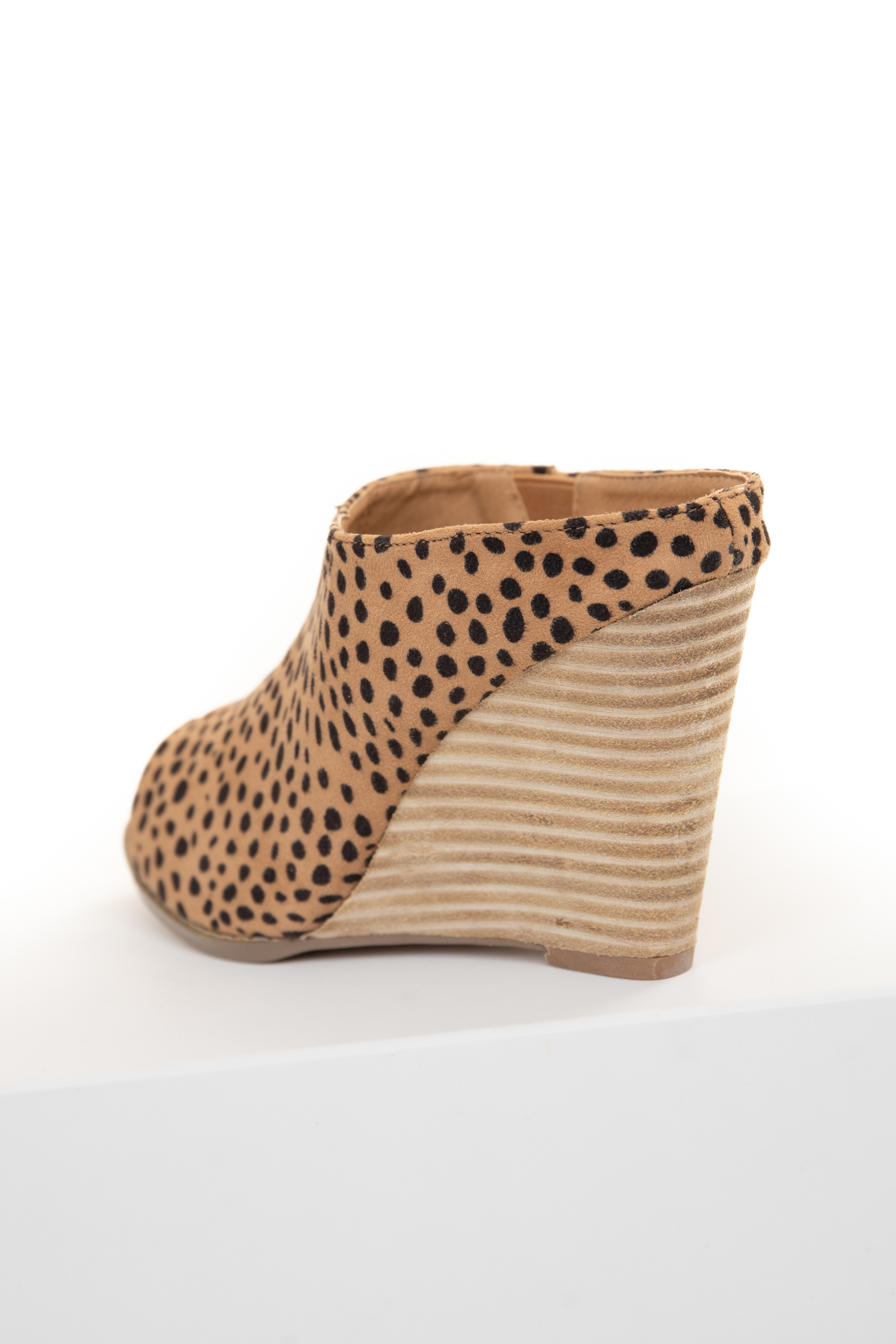 Beige and Black Cheetah Print Wedge Bootie with Open Toe