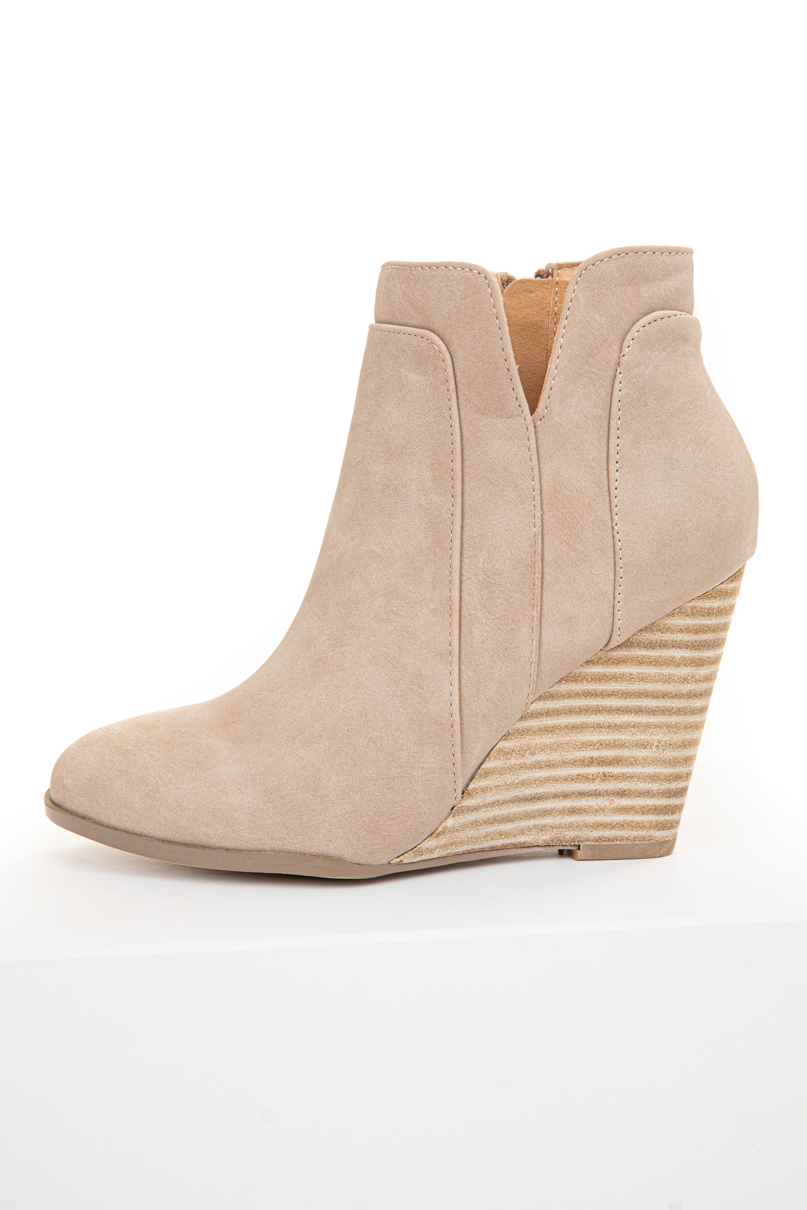 Beige Faux Suede Stacked Wedge Bootie