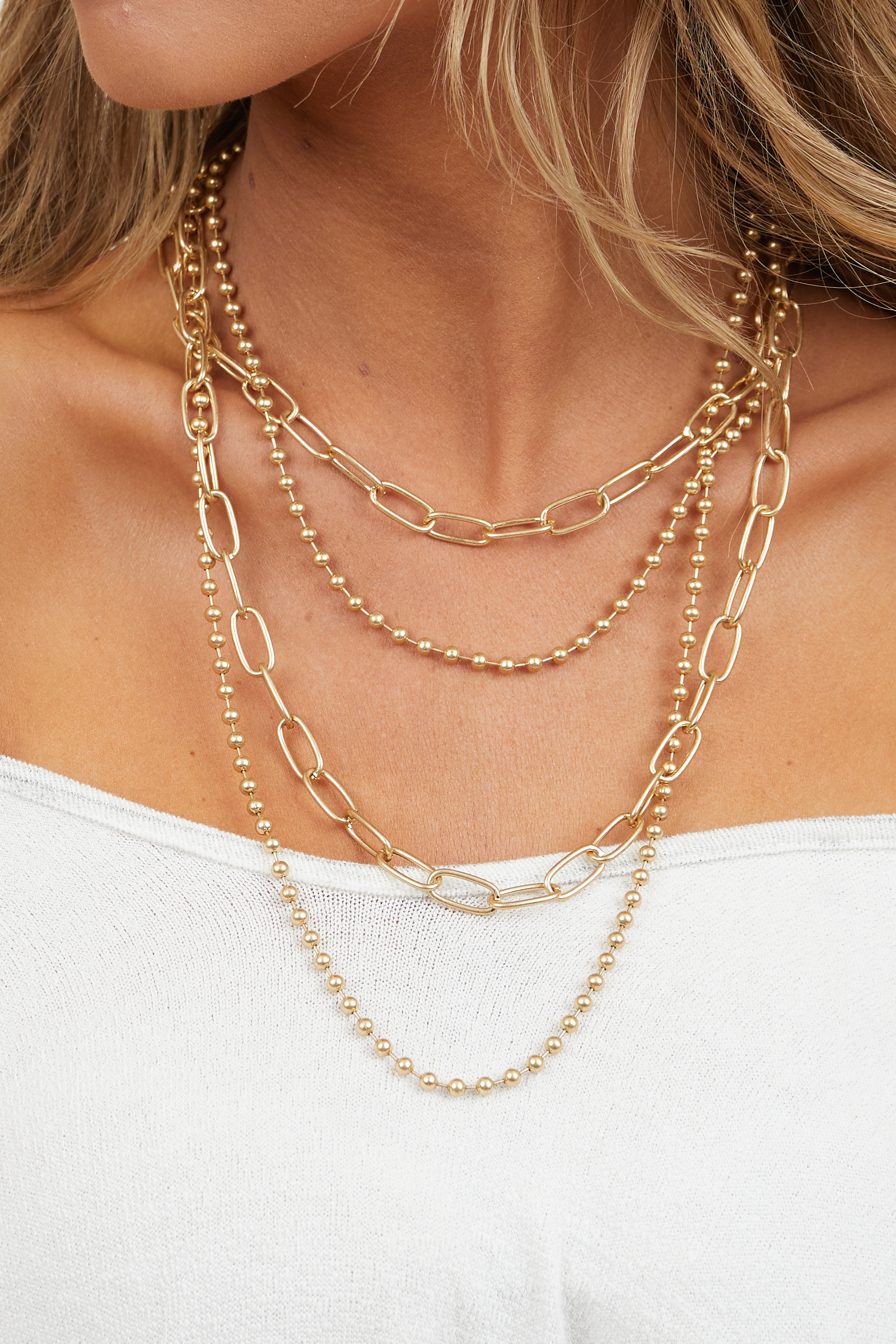 Gold Chain Layered Necklace with Various Chain Styles