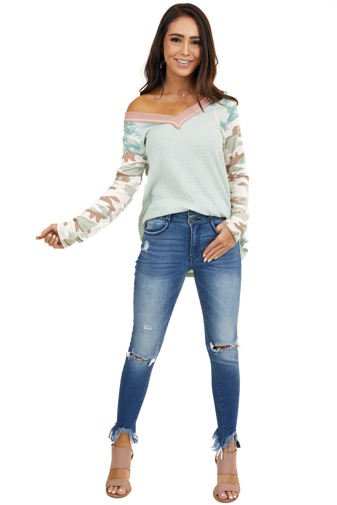 Mint Textured Top with Long Multiprint Contrast Sleeves