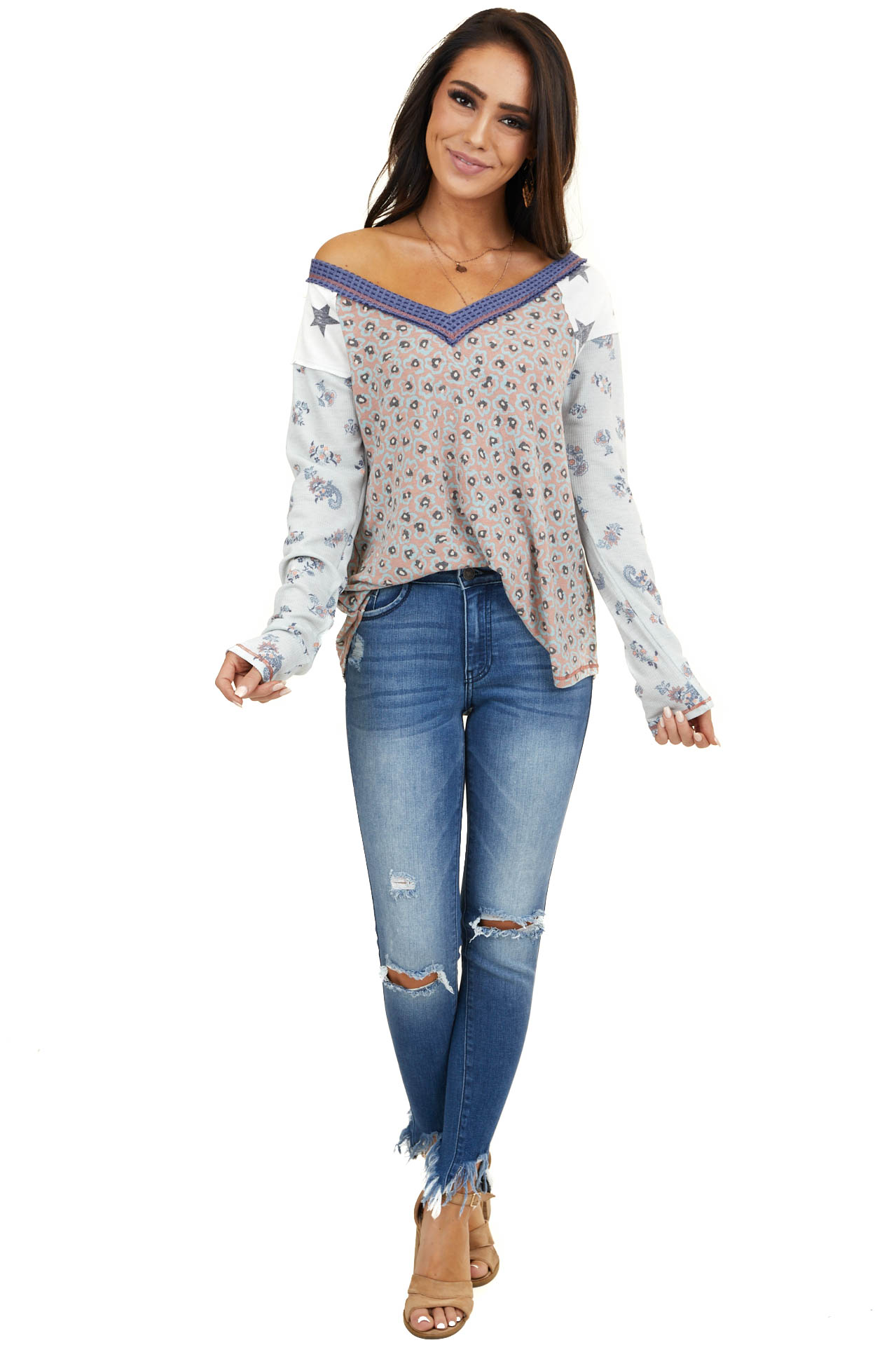 Mauve Multiprint V Neck Knit Top with Long Contrast Sleeves
