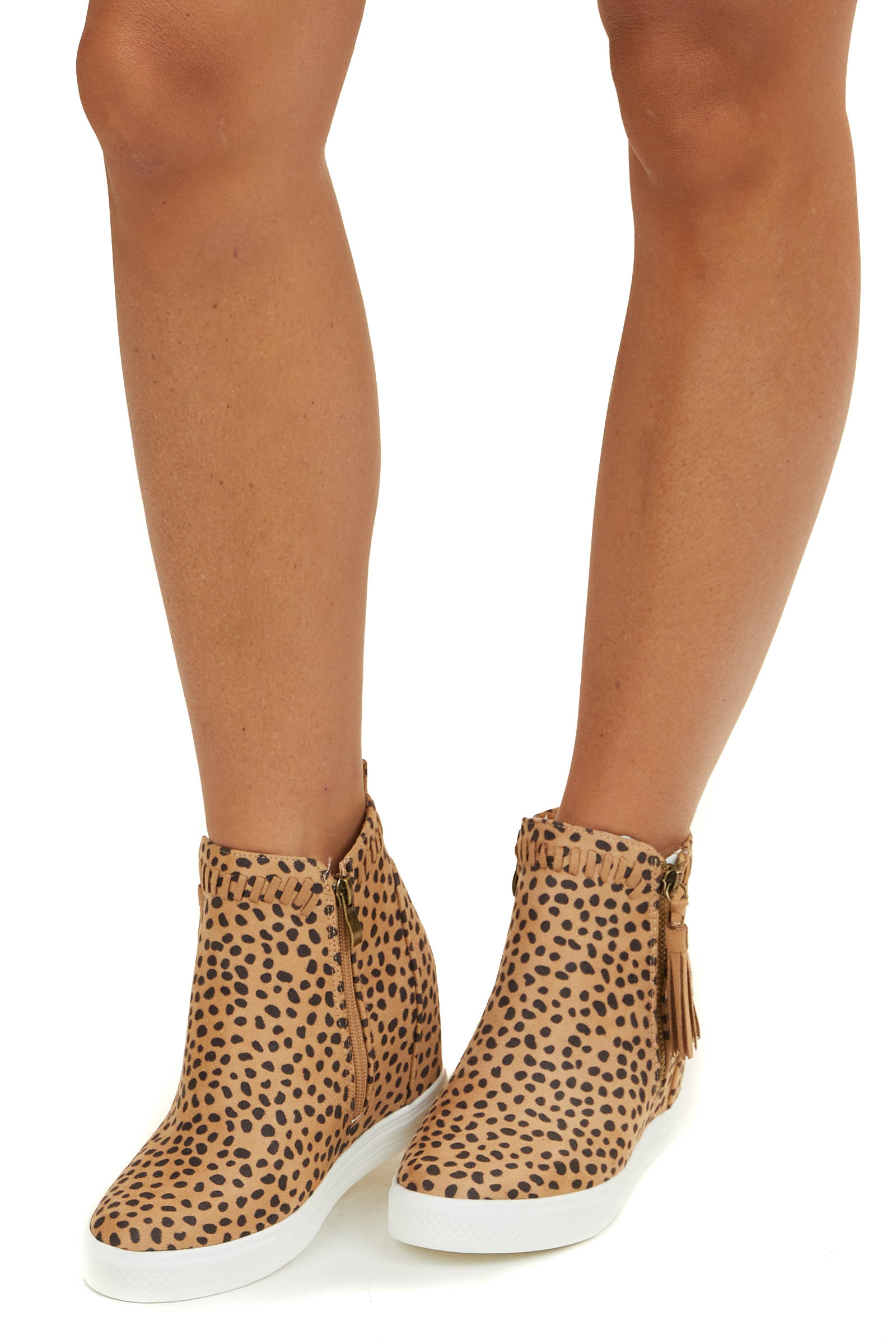 Camel and Black Cheetah Print Sneaker with Hidden Wedge