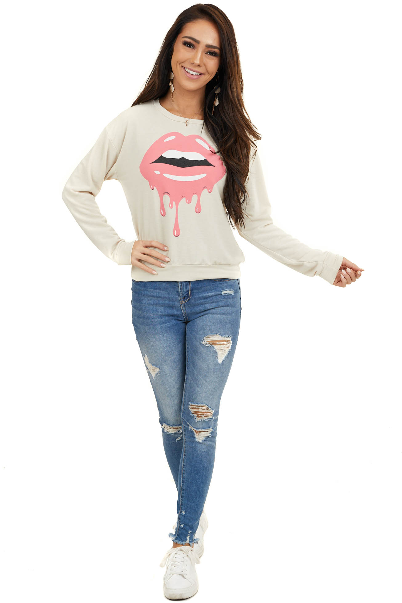 Cream Long Sleeve Knit Top with Hot Pink Lip Graphic