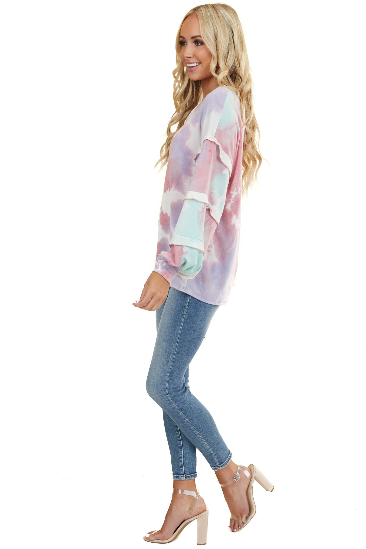 Pink and Teal Tie Dye Top with Long Ruffle Bubble Sleeves