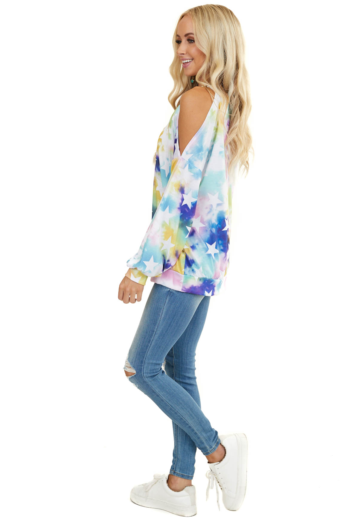 Multicolor Tie Dye Cold Shoulder Knit Top with Star Detail