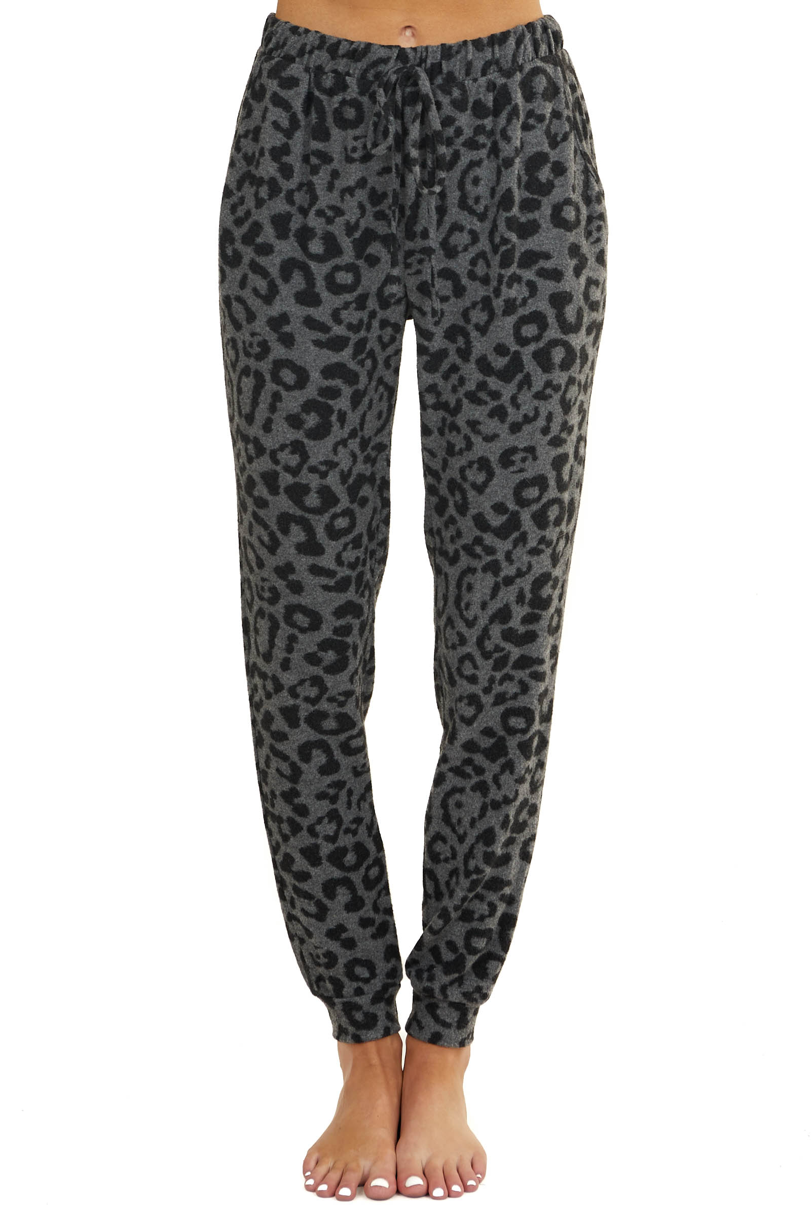 Charcoal and Grey Leopard Print Super Soft Lounge Joggers