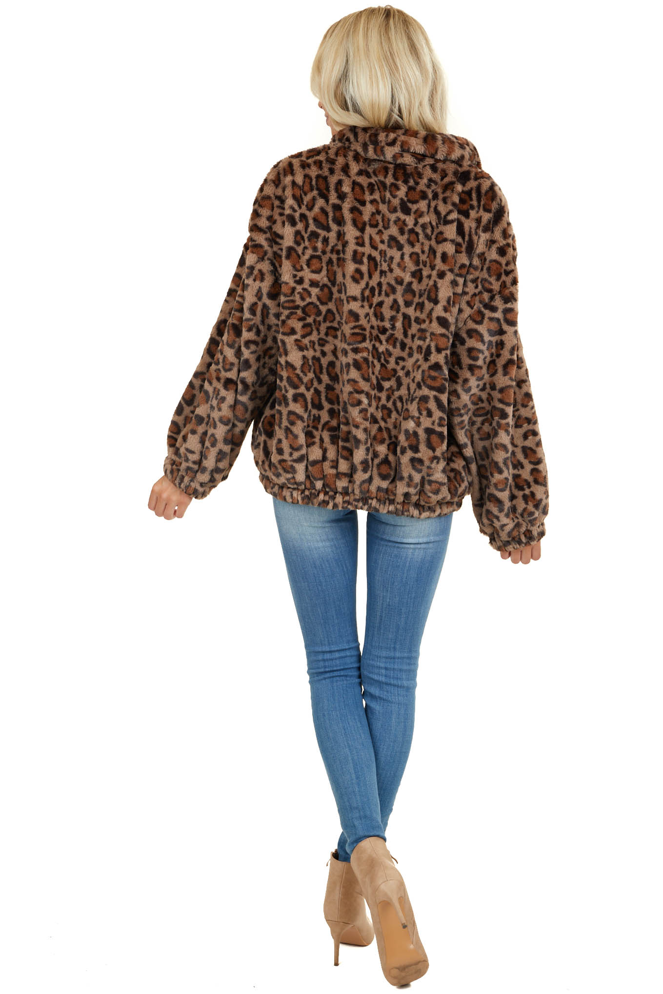Taupe Leopard Print Faux Fur Long Sleeve Zip Up Jacket