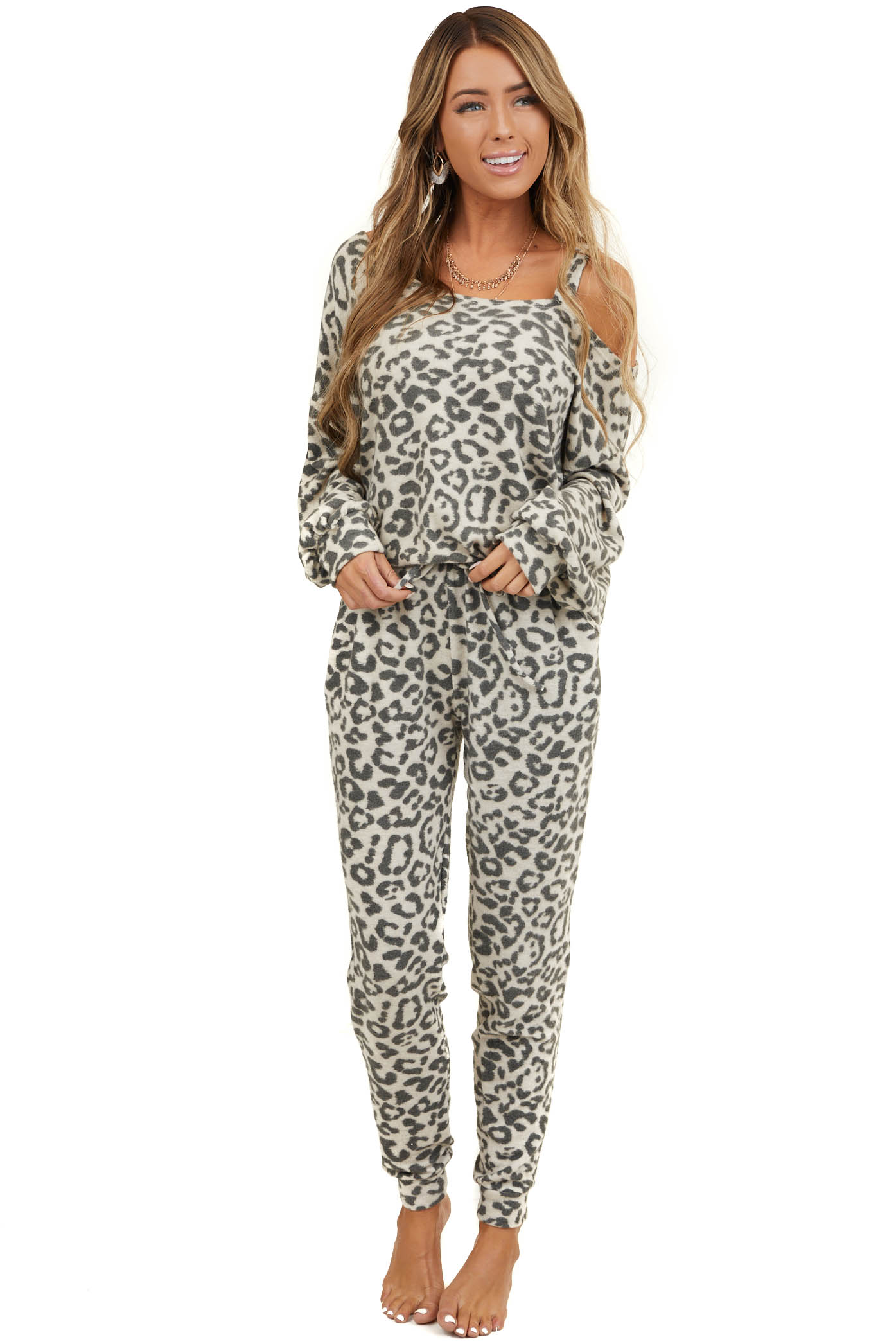 Cream and Charcoal Leopard Print Super Soft Long Sleeve Top