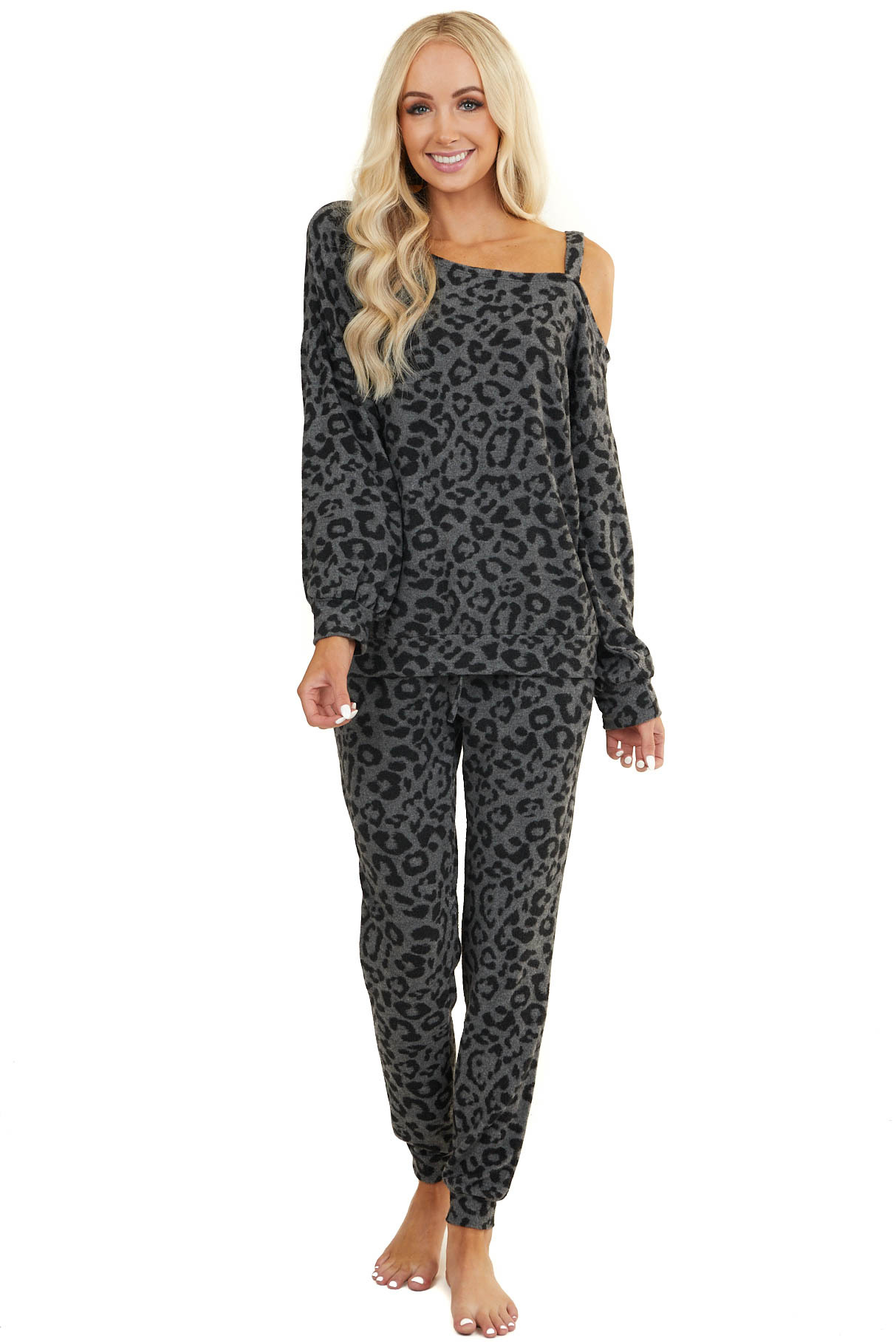 Charcoal and Grey Leopard Print Super Soft Long Sleeve Top