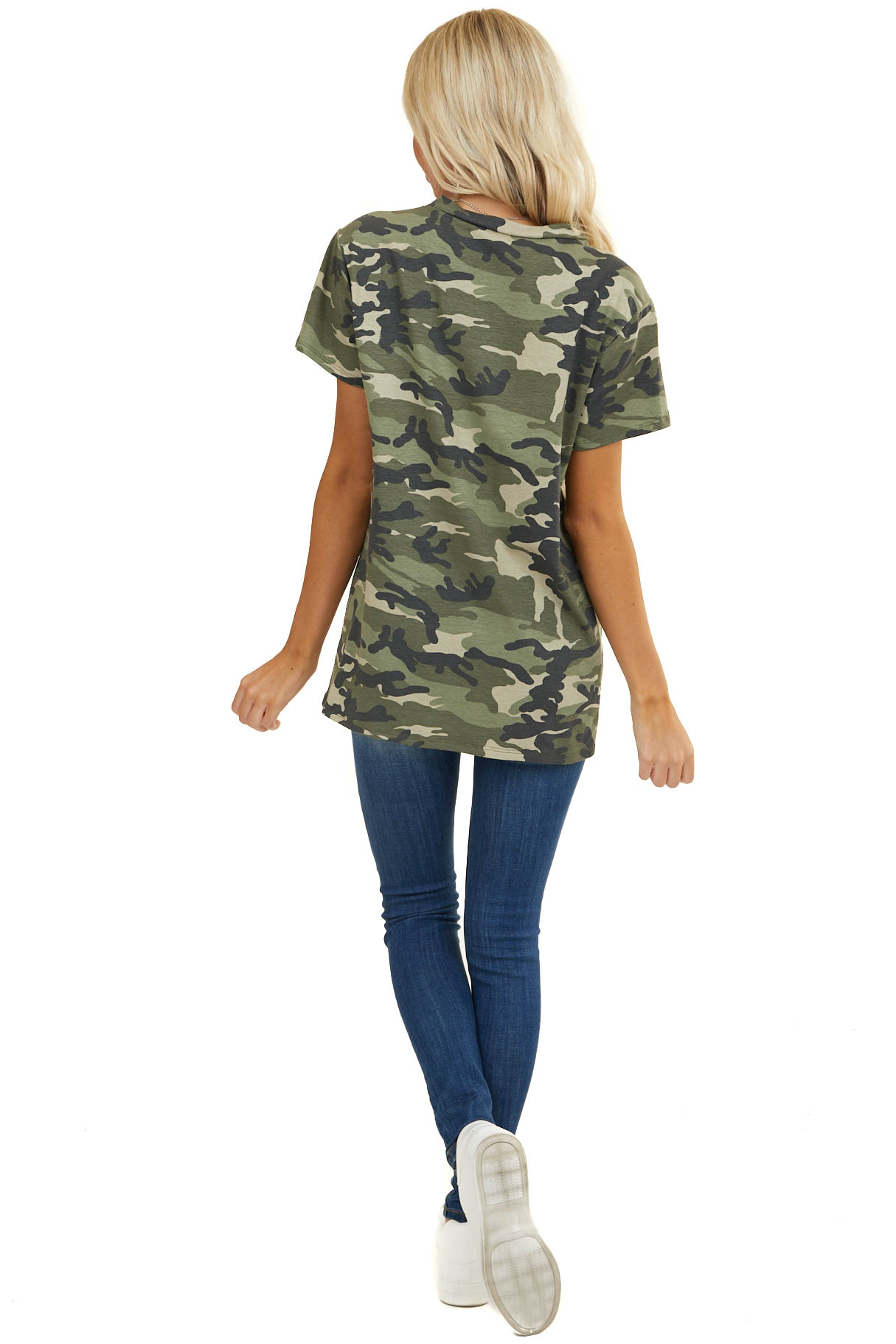 Moss Green Camo Print Short Sleeve Top with Front Twist