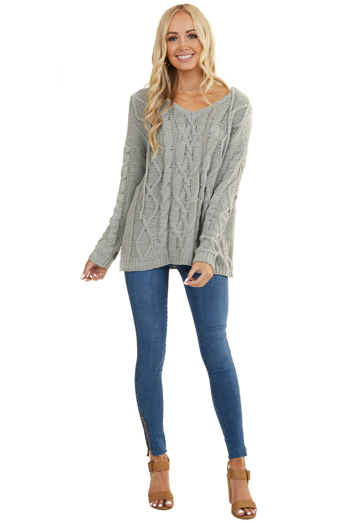 Dusty Sage Cable Knit Hooded Sweater With Ribbed Hem