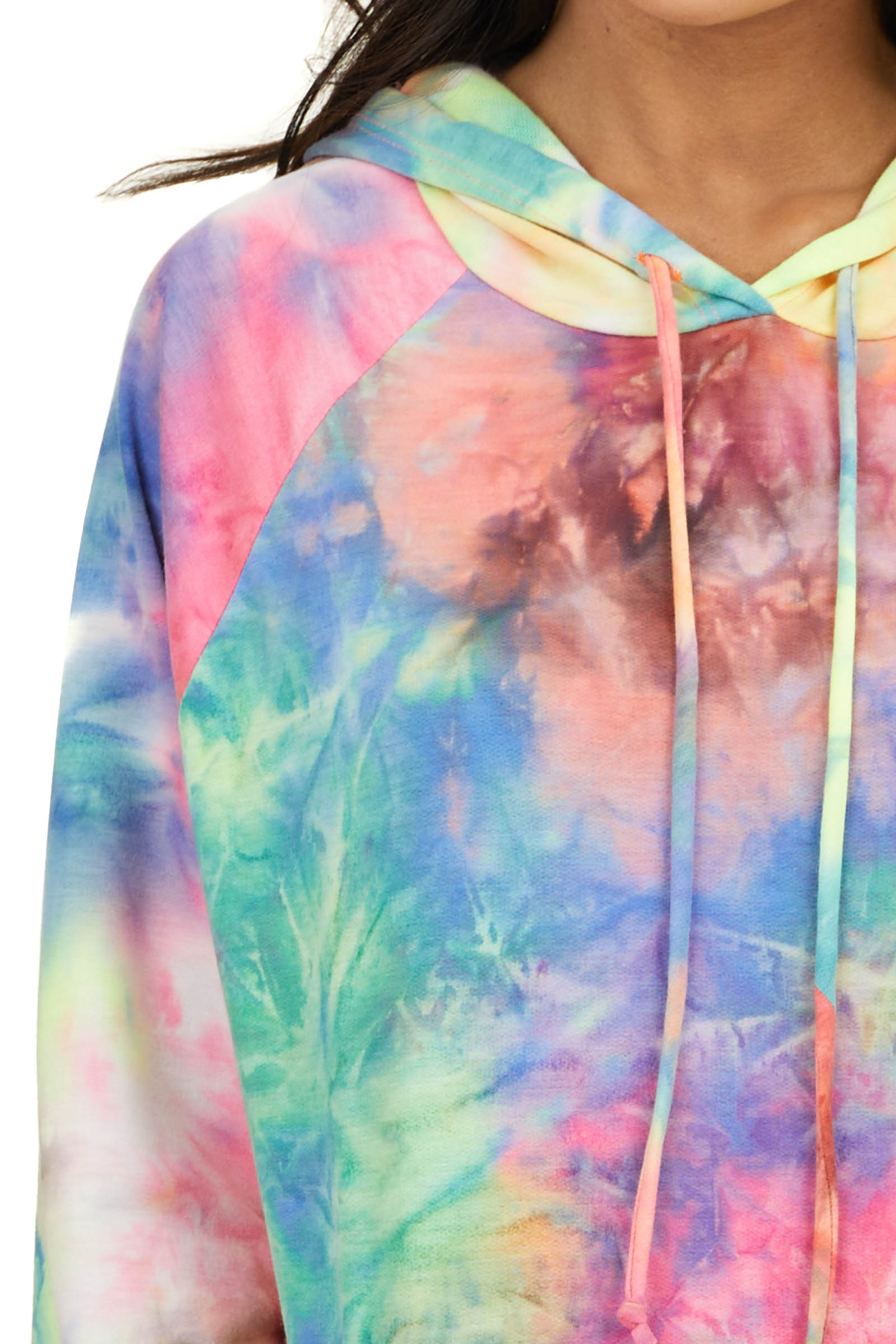 Neon Tie Dye Long Sleeve Hoodie with Drawstrings and Pocket