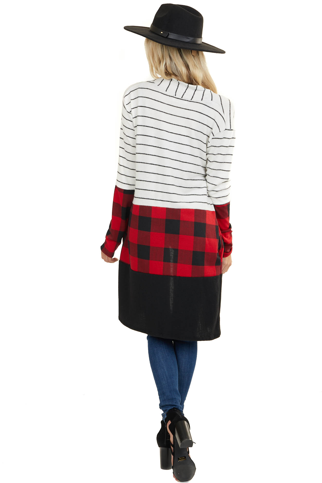 White and Black Striped Cardigan with Red Plaid Colorblock
