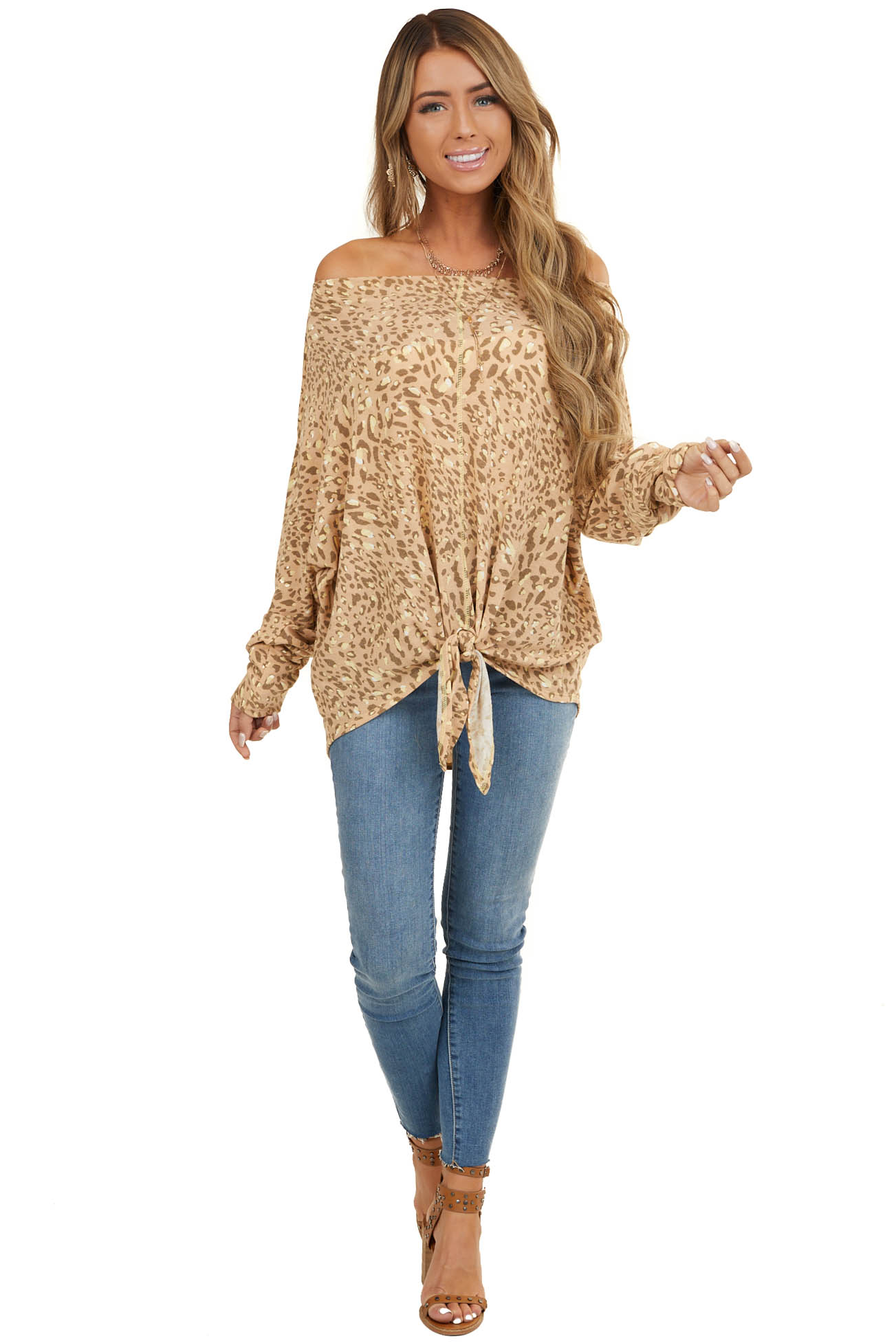 Light Apricot Leopard Print Off Shoulder Top with Front Tie
