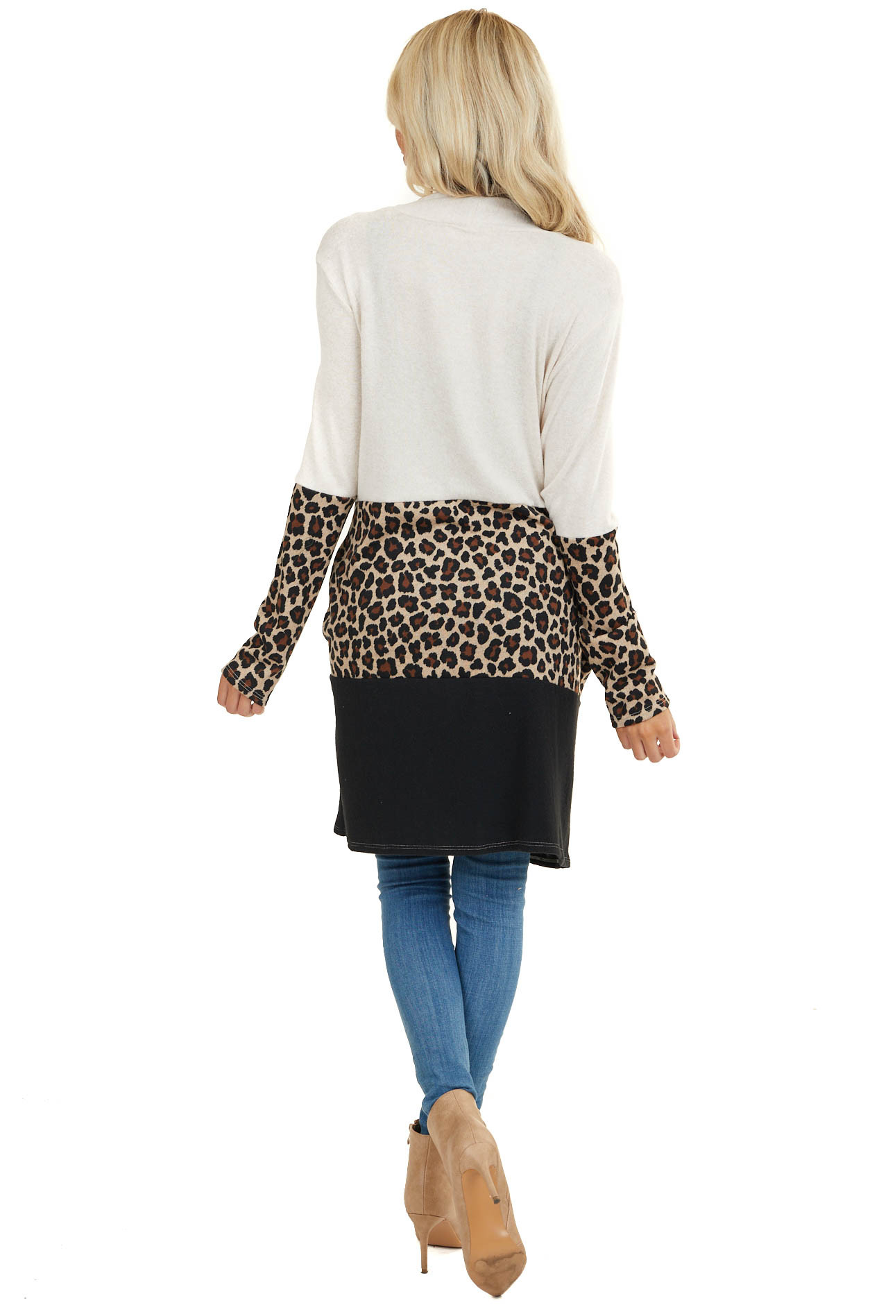 Beige and Black Cardigan with Leopard Print Colorblock
