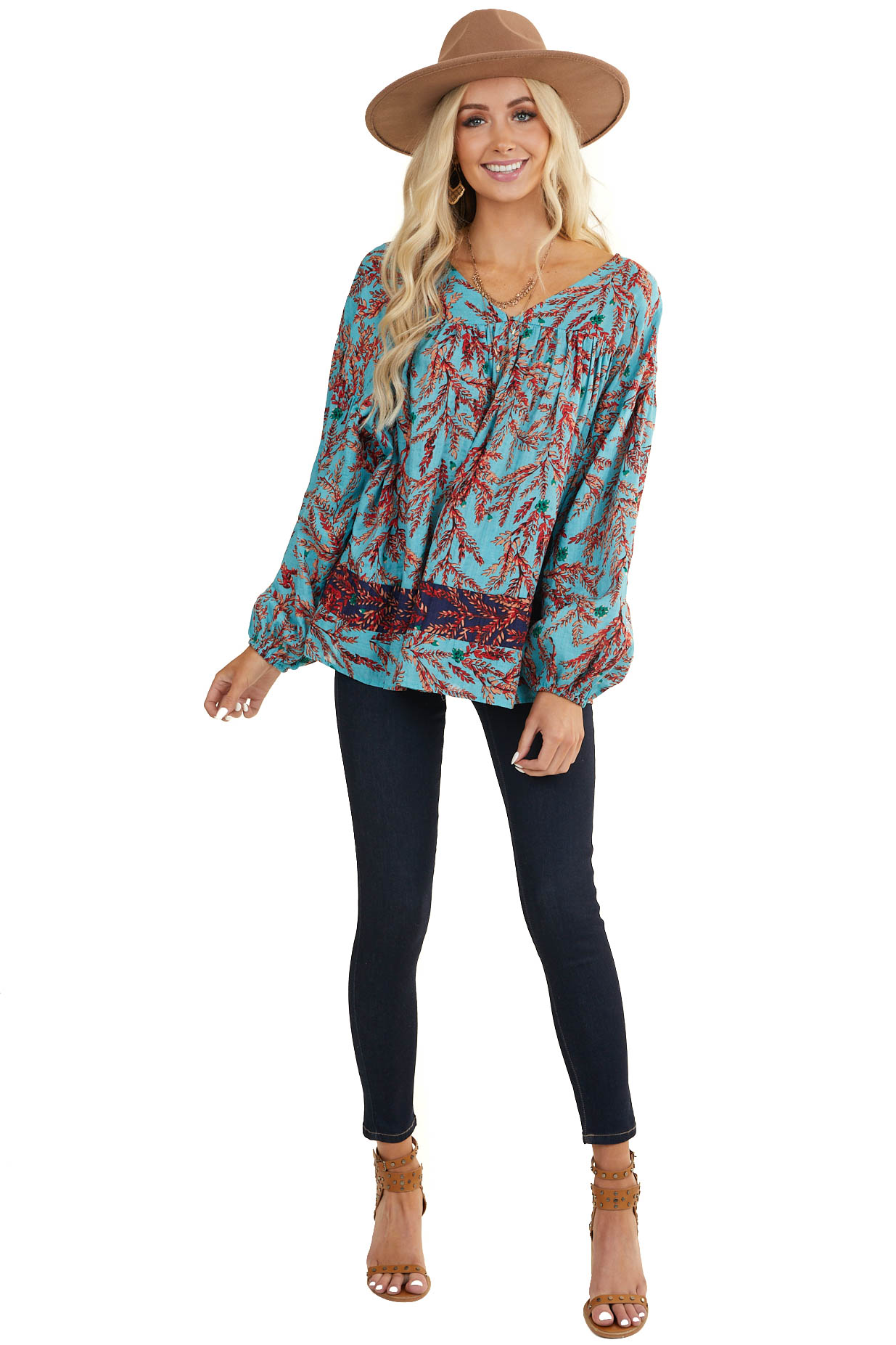 Teal Baby Doll Woven Top with Burgundy Floral Detail