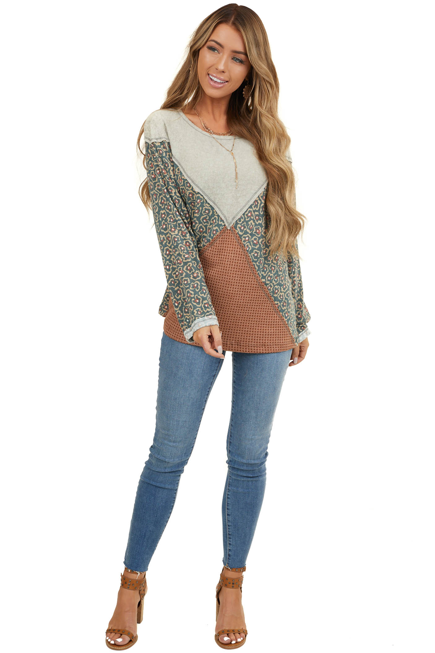 Oatmeal and Forest Green Colorblock Top with Long Sleeves