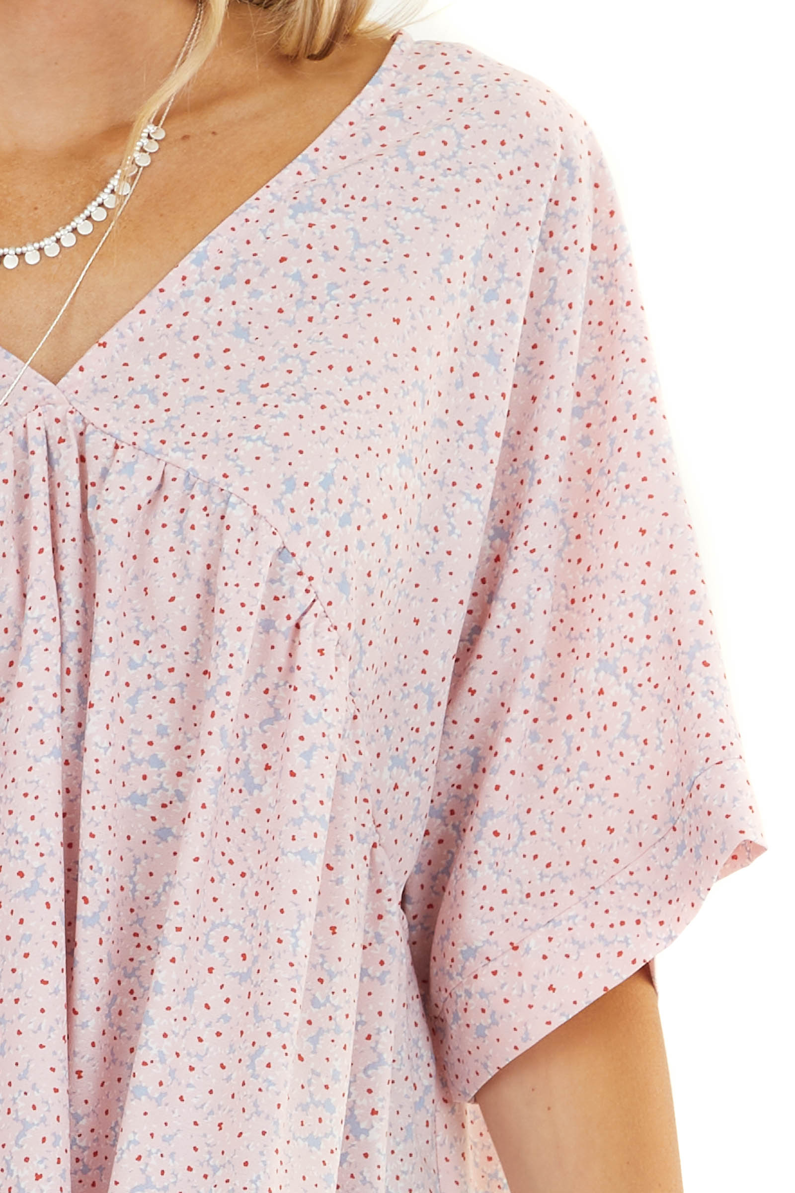 Blush and Lavender Ditsy Floral Print Babydoll Top