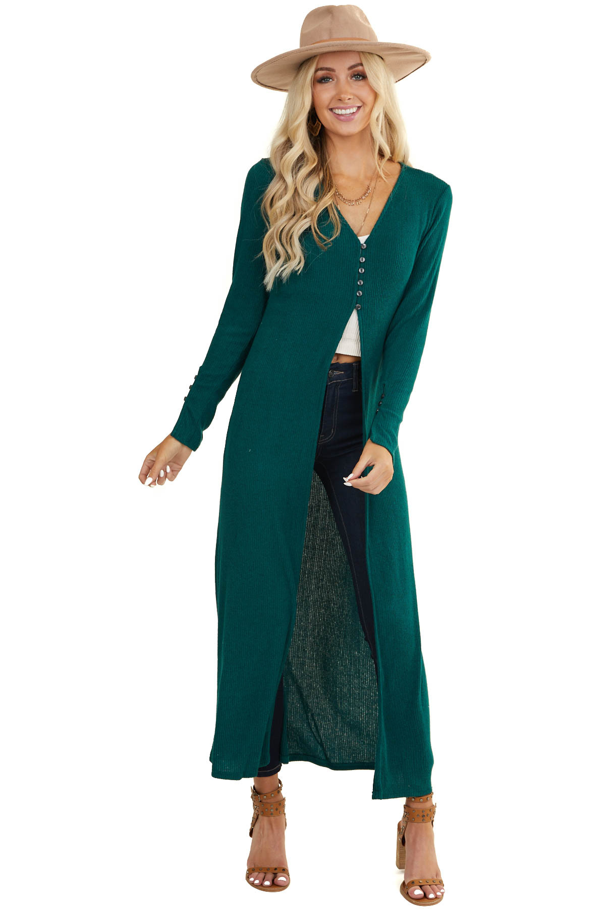 Dark Pine Long Sleeve Duster Cardigan with Button Closure