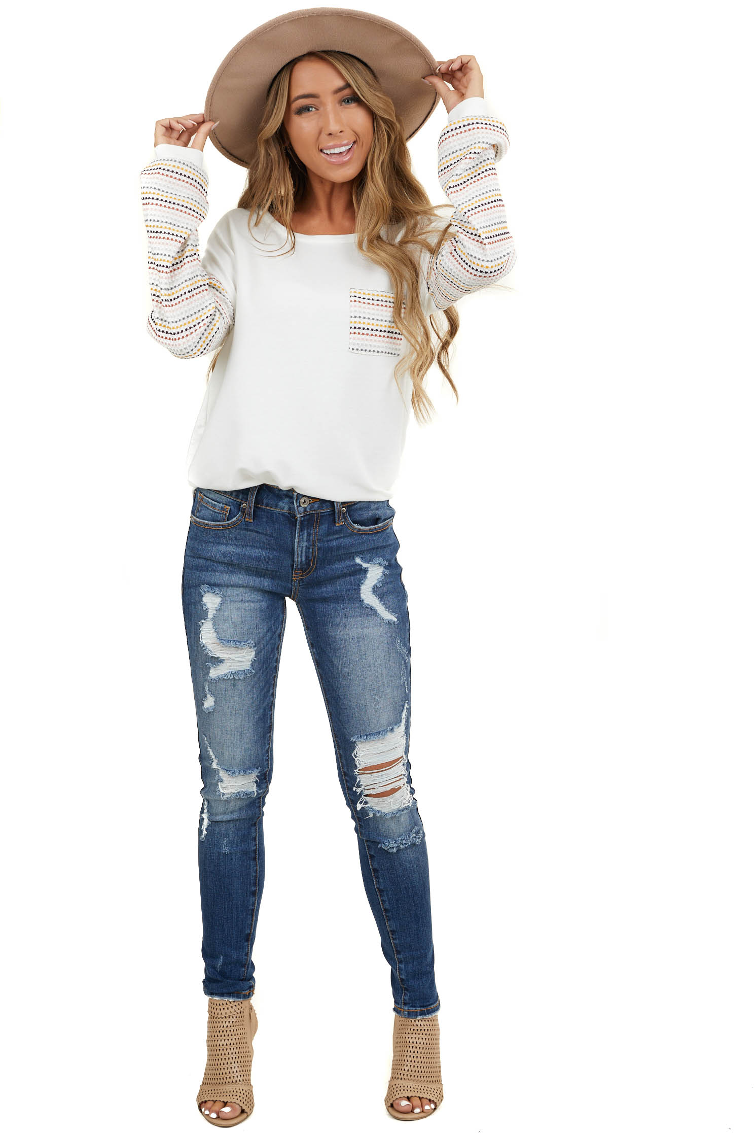 Ivory Top with Multicolor Waffle Knit Sleeves and Pocket