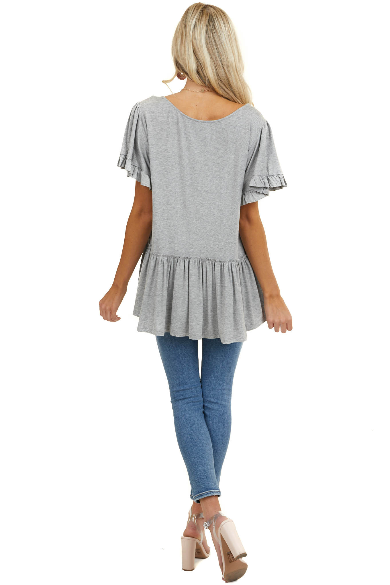Heathered Dove Jersey Knit Top with Short Ruffle Sleeves