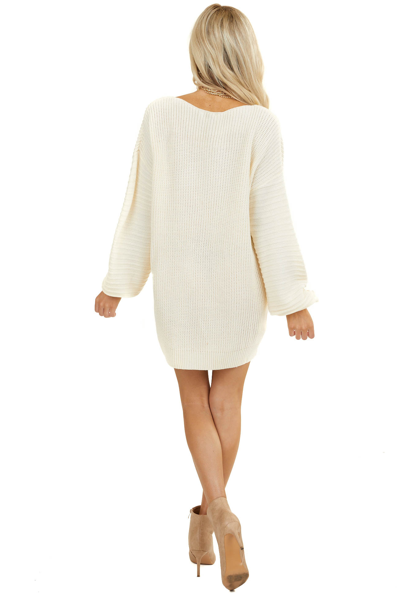 Cream Knit Sweater Dress with Long Drop Shoulder Sleeves