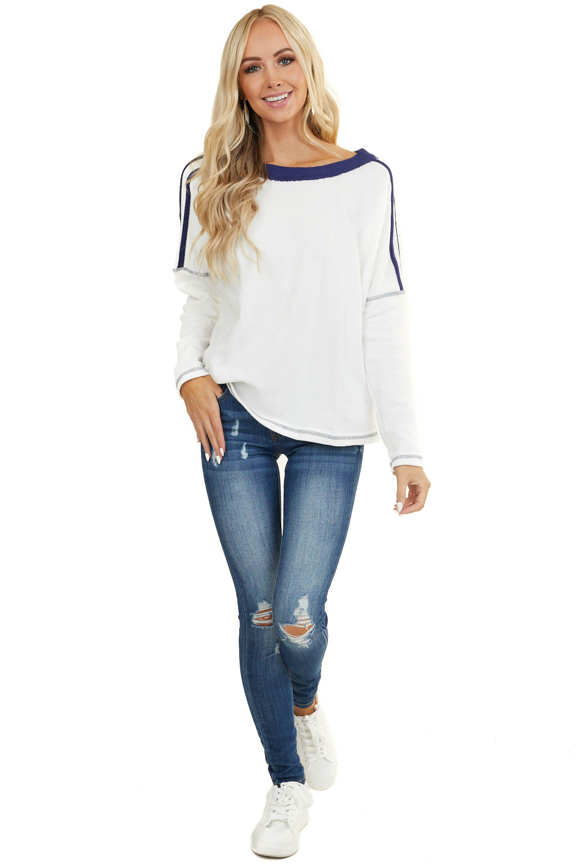 White and Navy Blue Long Sleeve Top with Stitching Detail