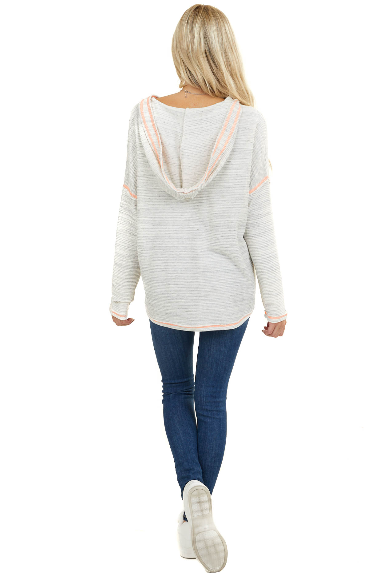 Heathered Ivory Textured Hoodie with Neon Stitching Detail
