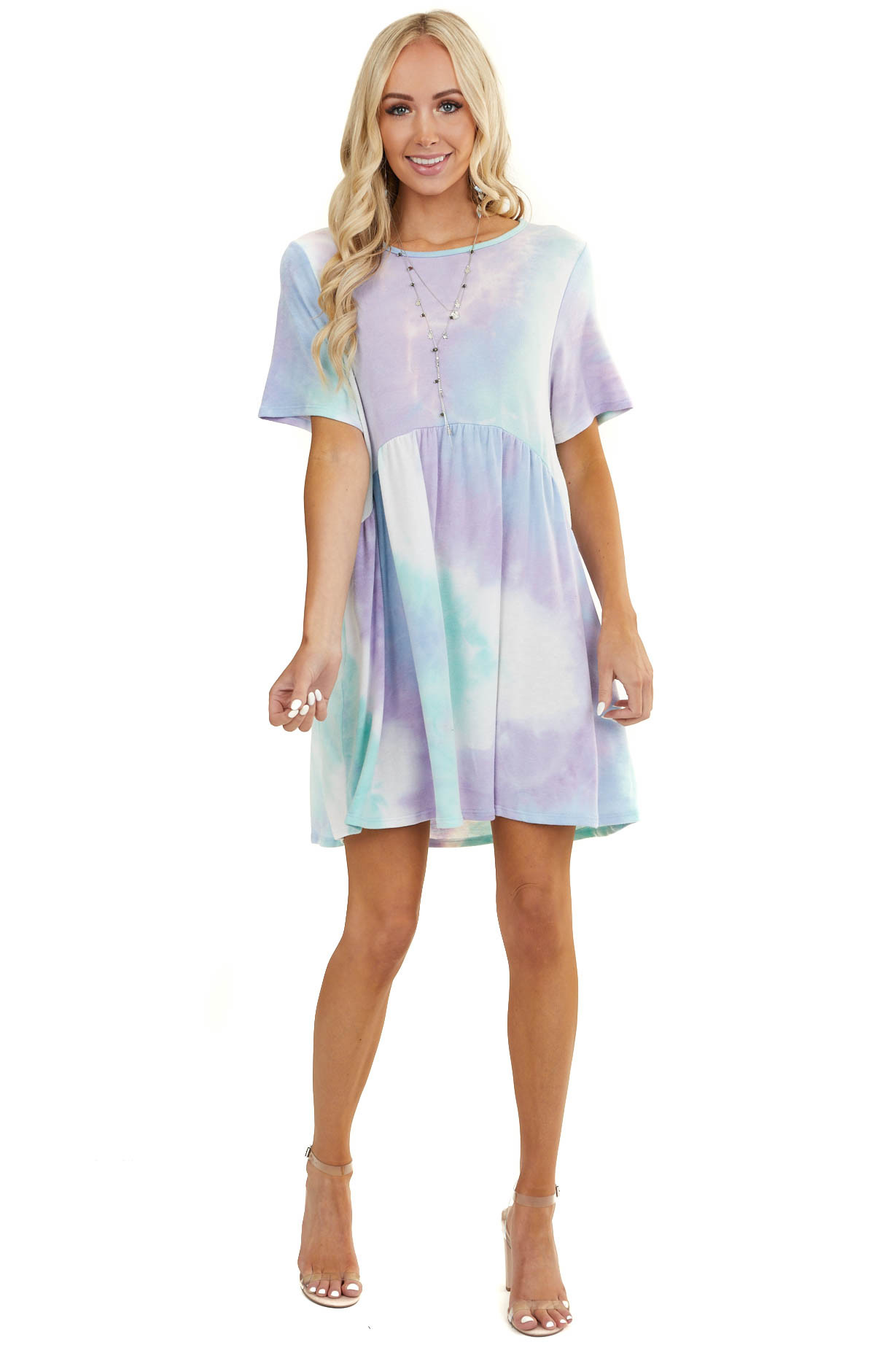Lavender and Teal Tie Dye Short Sleeve Baby Doll Dress