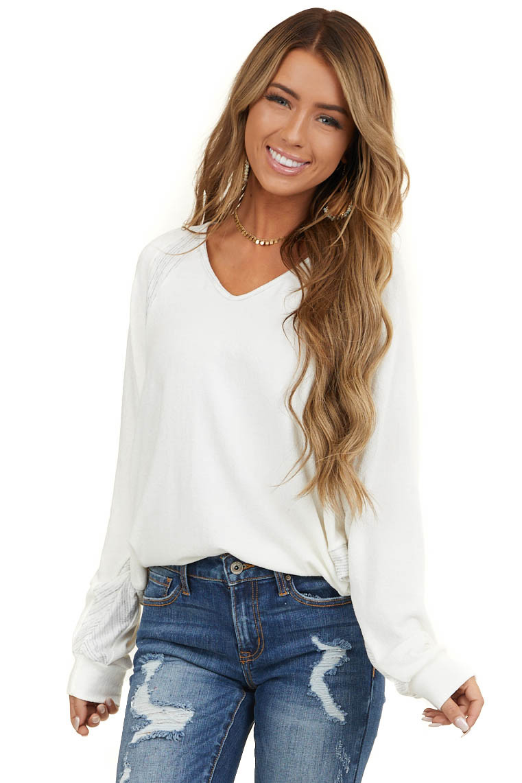 Ivory Long Dolman Sleeve Top with Heathered Grey Detail