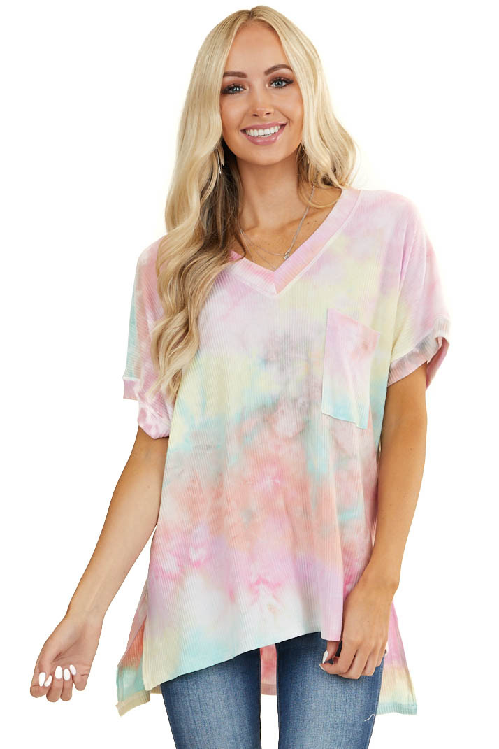 Pink Tie Dye Short Sleeve Ribbed Knit Top with Front Pocket