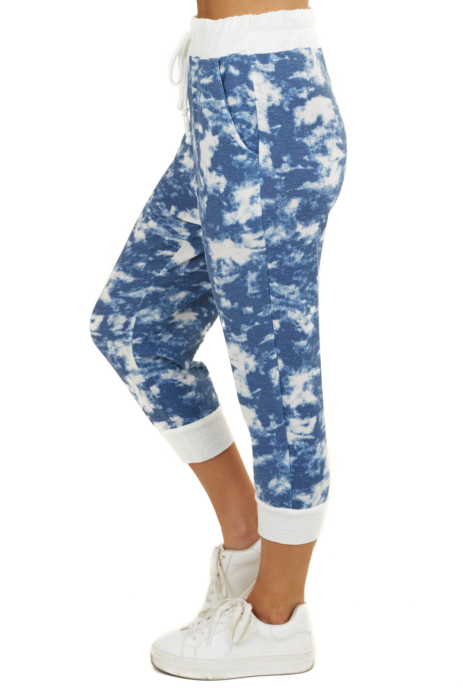 Navy Blue and White Tie Dye Capri Joggers with Pockets