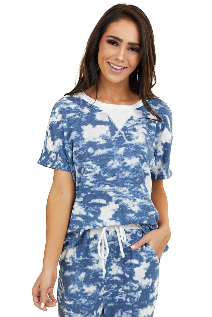 Navy Blue and White Tie Dye Short Sleeve Waffle Knit Top