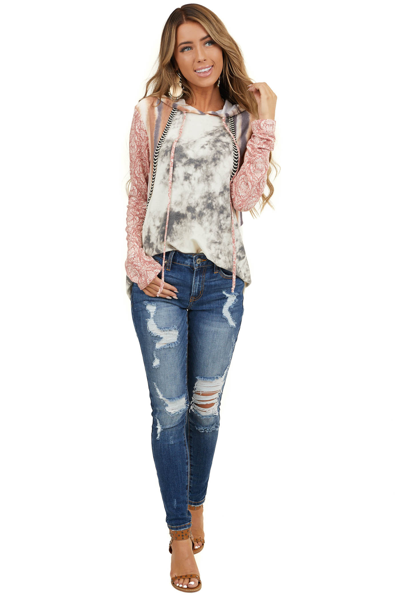 Ivory Multiprint Knit Hoodie with Embroidered Detail