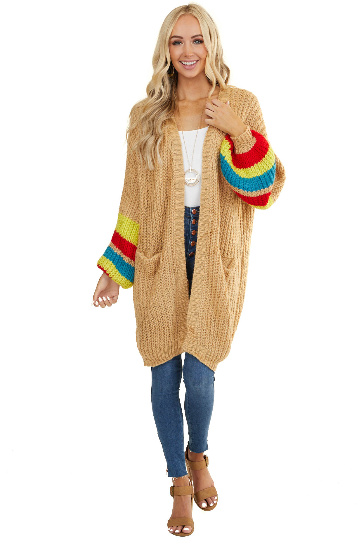 Tan Striped Bubble Long Sleeve Chunky Cardigan with Pockets