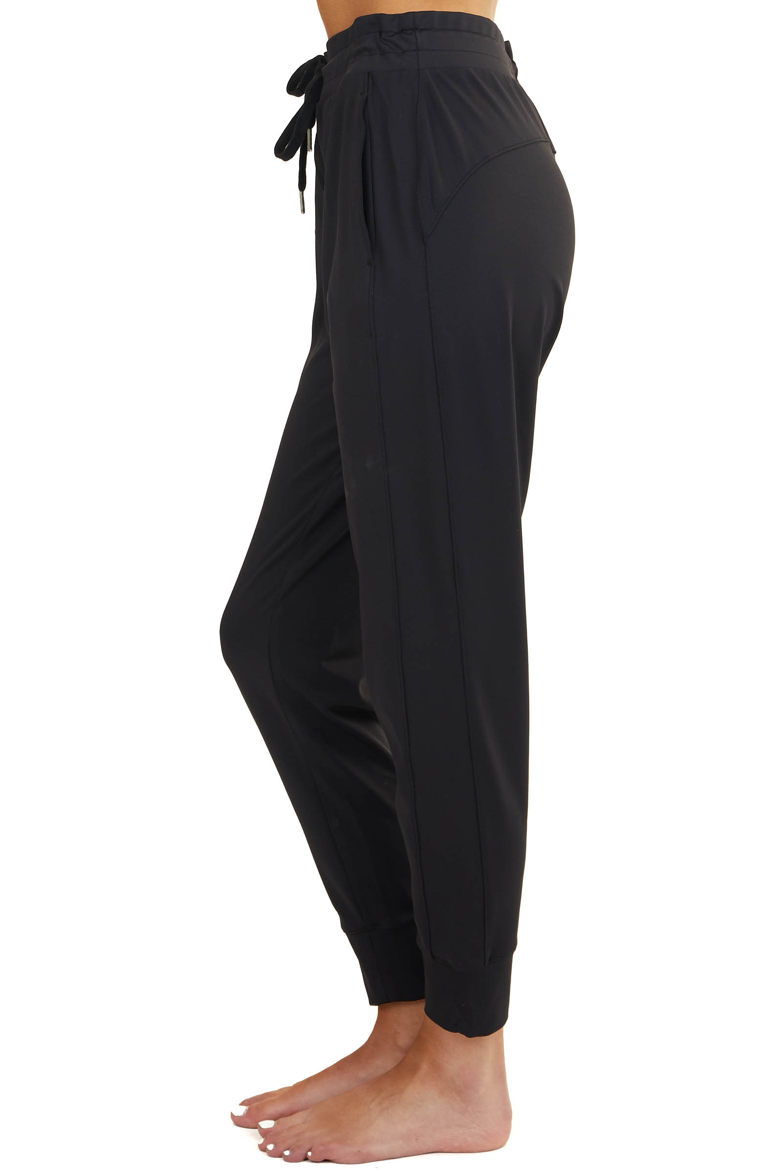 Black Side Paneled Joggers with Drawstring and Side Pockets