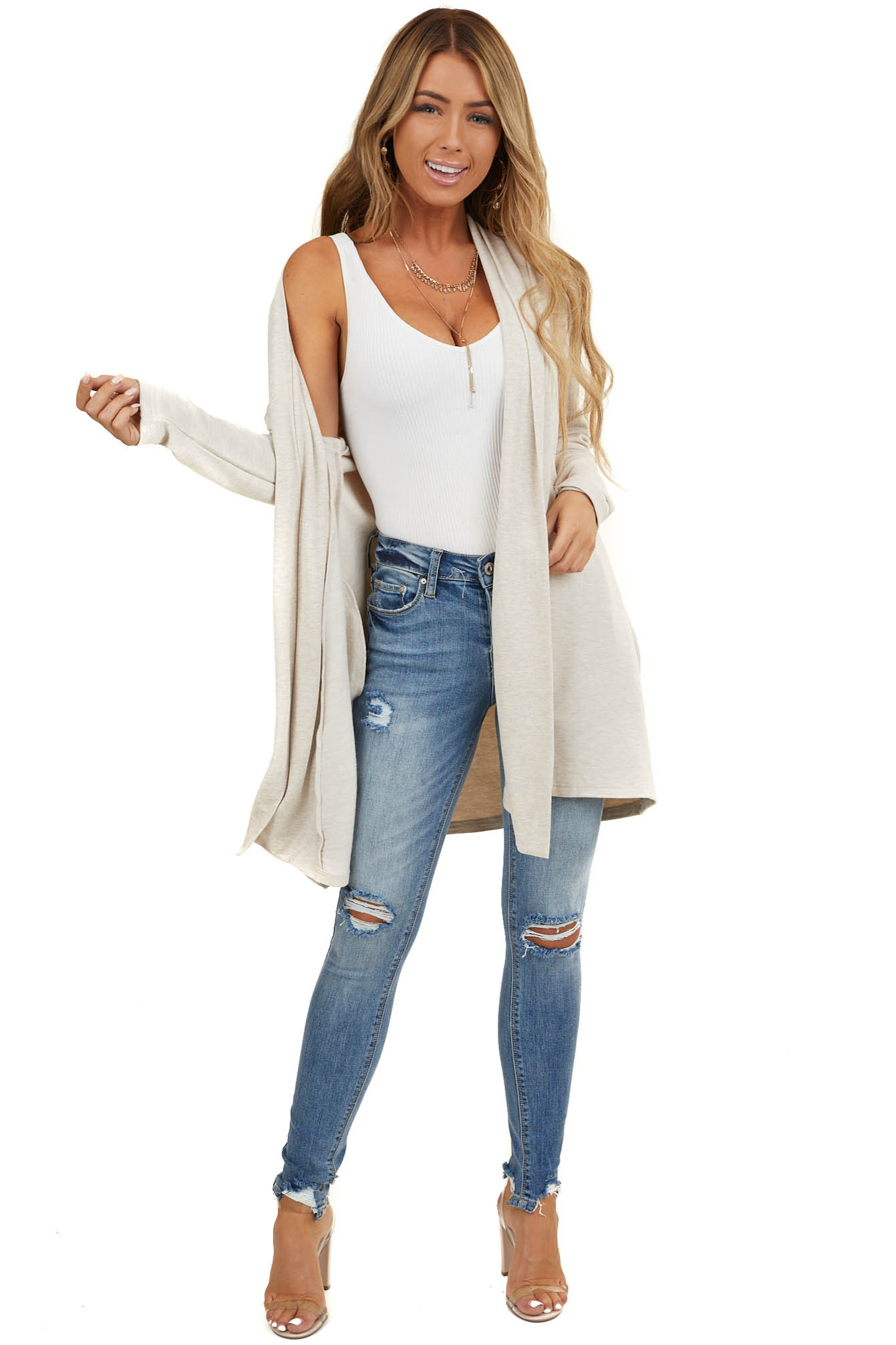 Heathered Oatmeal Open Front Knit Cardigan with Side Pockets